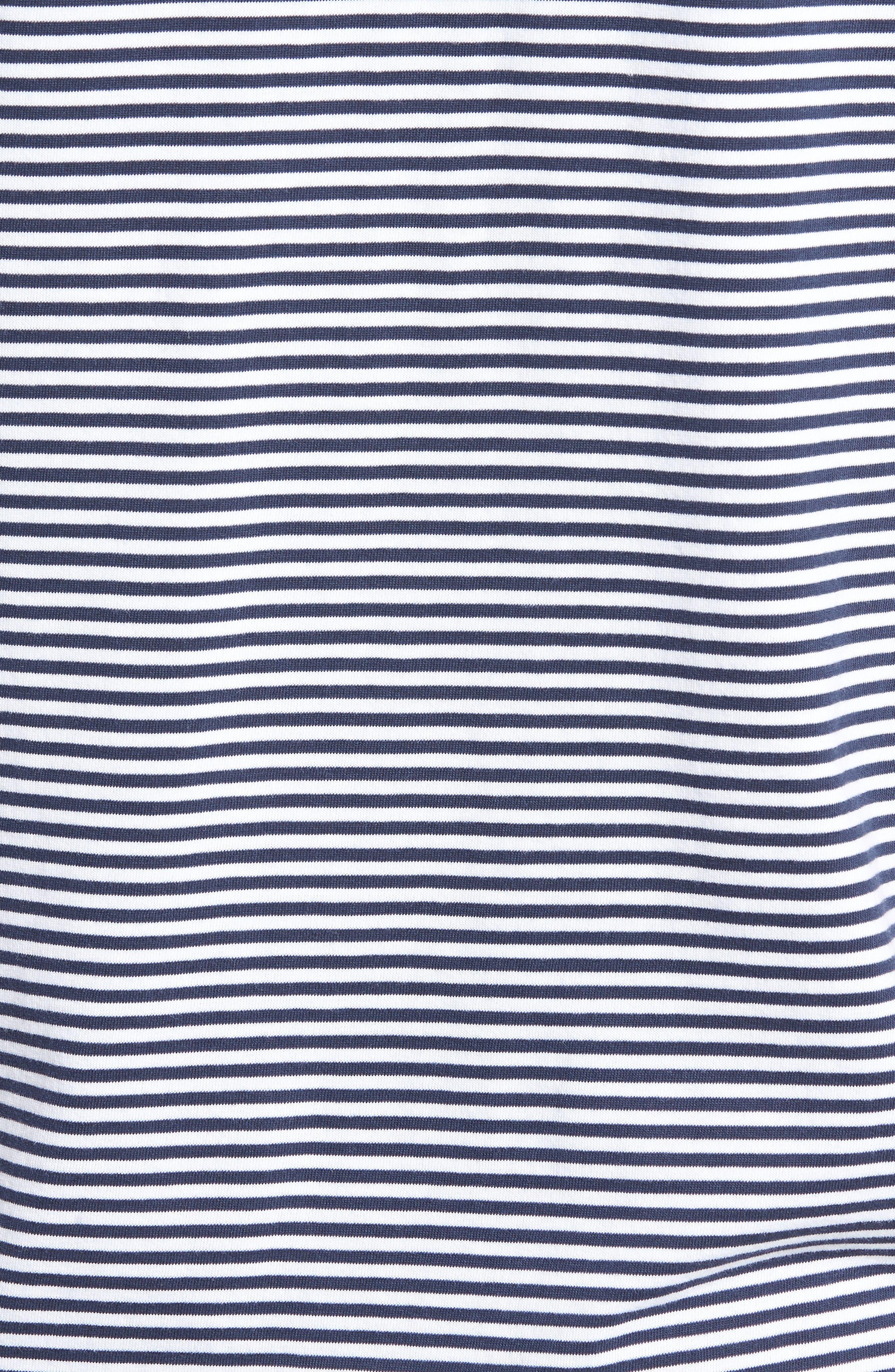 Stripe Brushed Pima Cotton T-Shirt,                             Alternate thumbnail 5, color,                             Navy Iris Mini Stripe