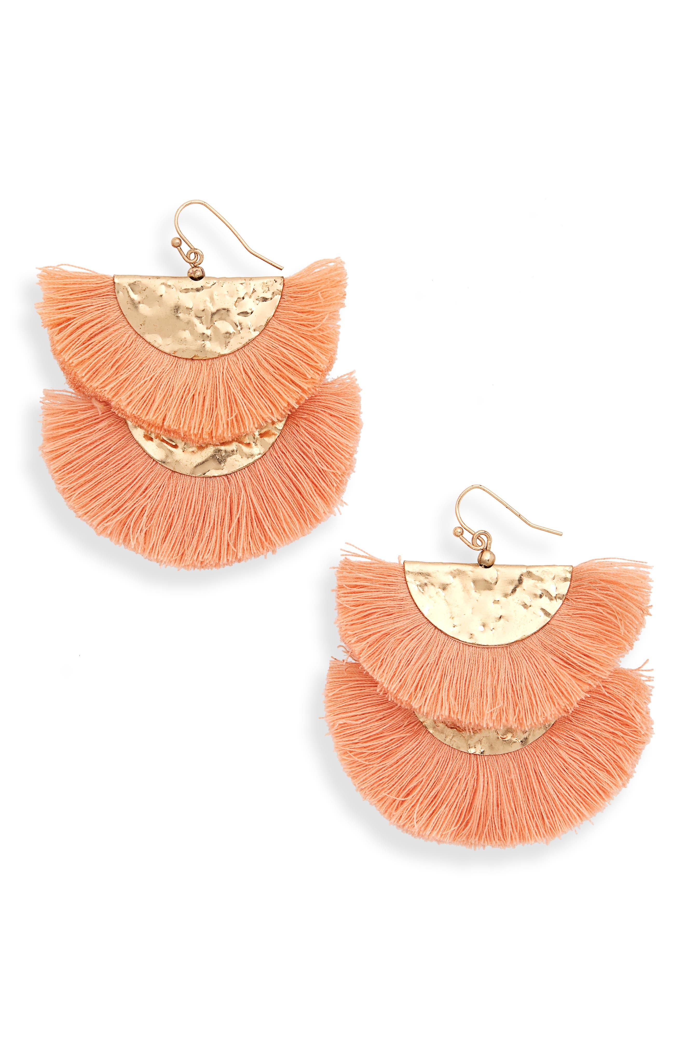 Two Tier Fan Earrings,                             Main thumbnail 1, color,                             Orange/ Gold
