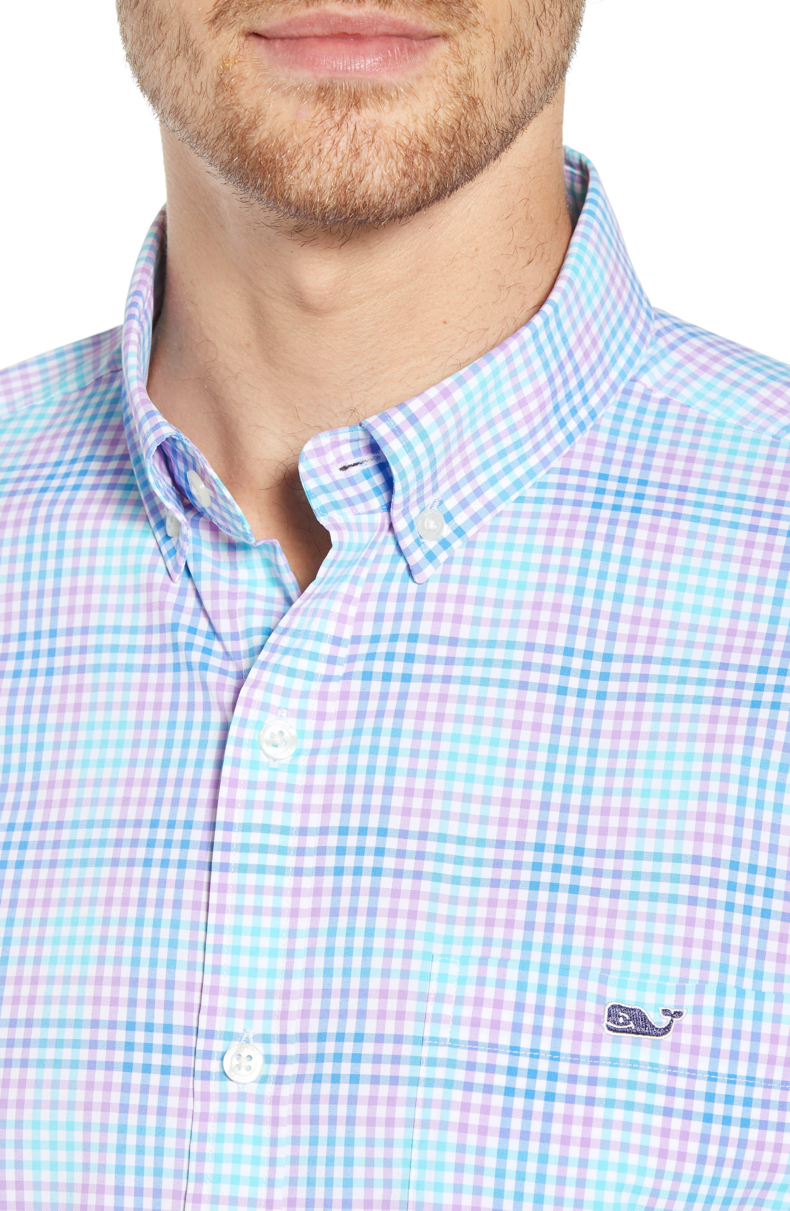 Ridge Hill Slim Fit Check Performance Sport Shirt,                             Alternate thumbnail 2, color,                             Turquoise