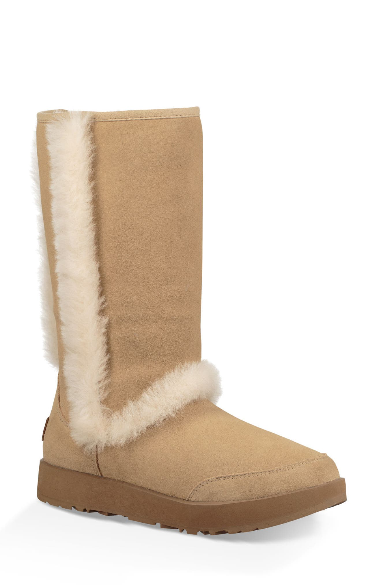 Sundance Genuine Shearling Waterproof Boot,                             Main thumbnail 1, color,                             Sand Suede