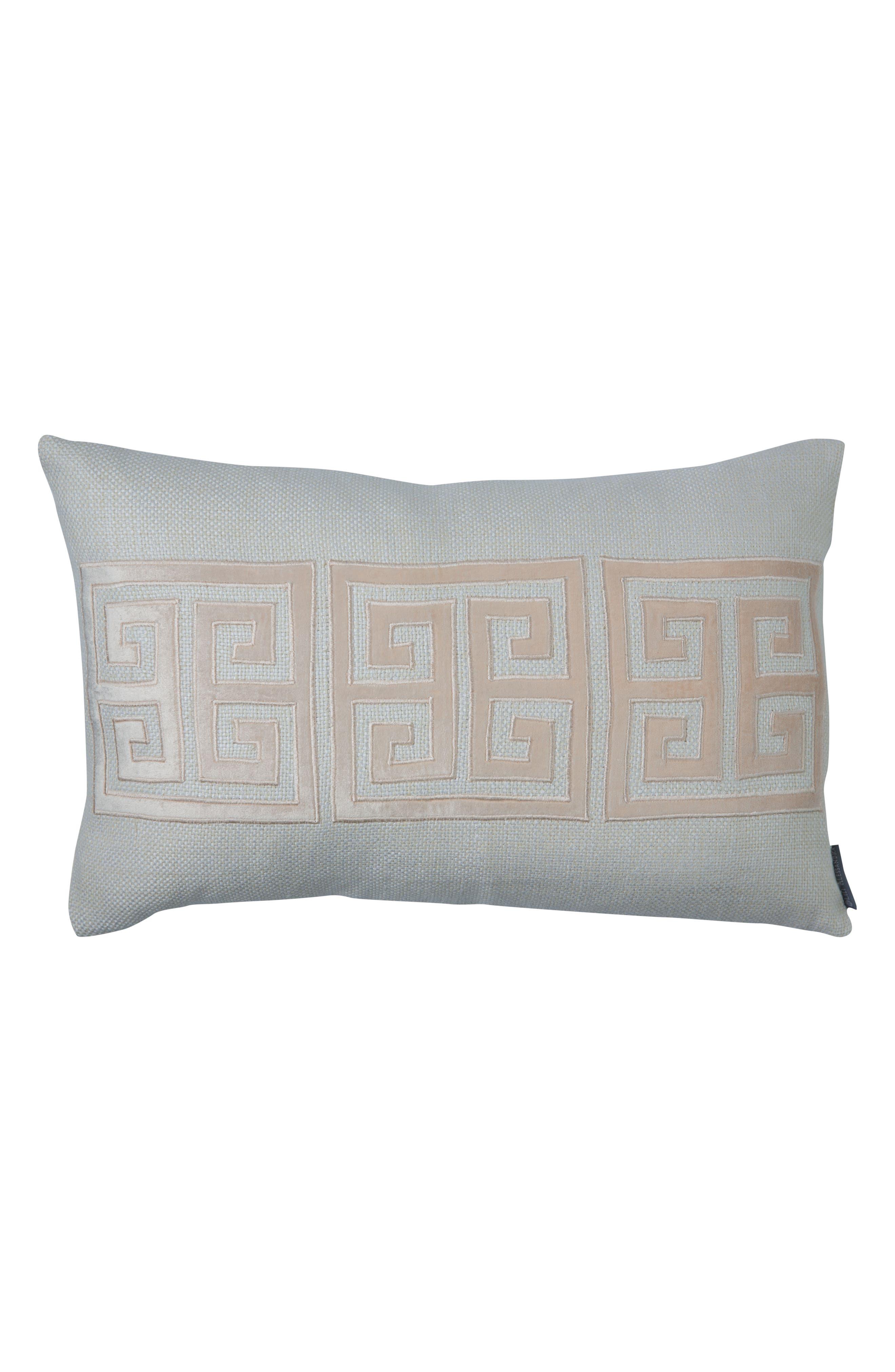 Guy Greek Key Accent Pillow,                             Main thumbnail 1, color,                             Pink