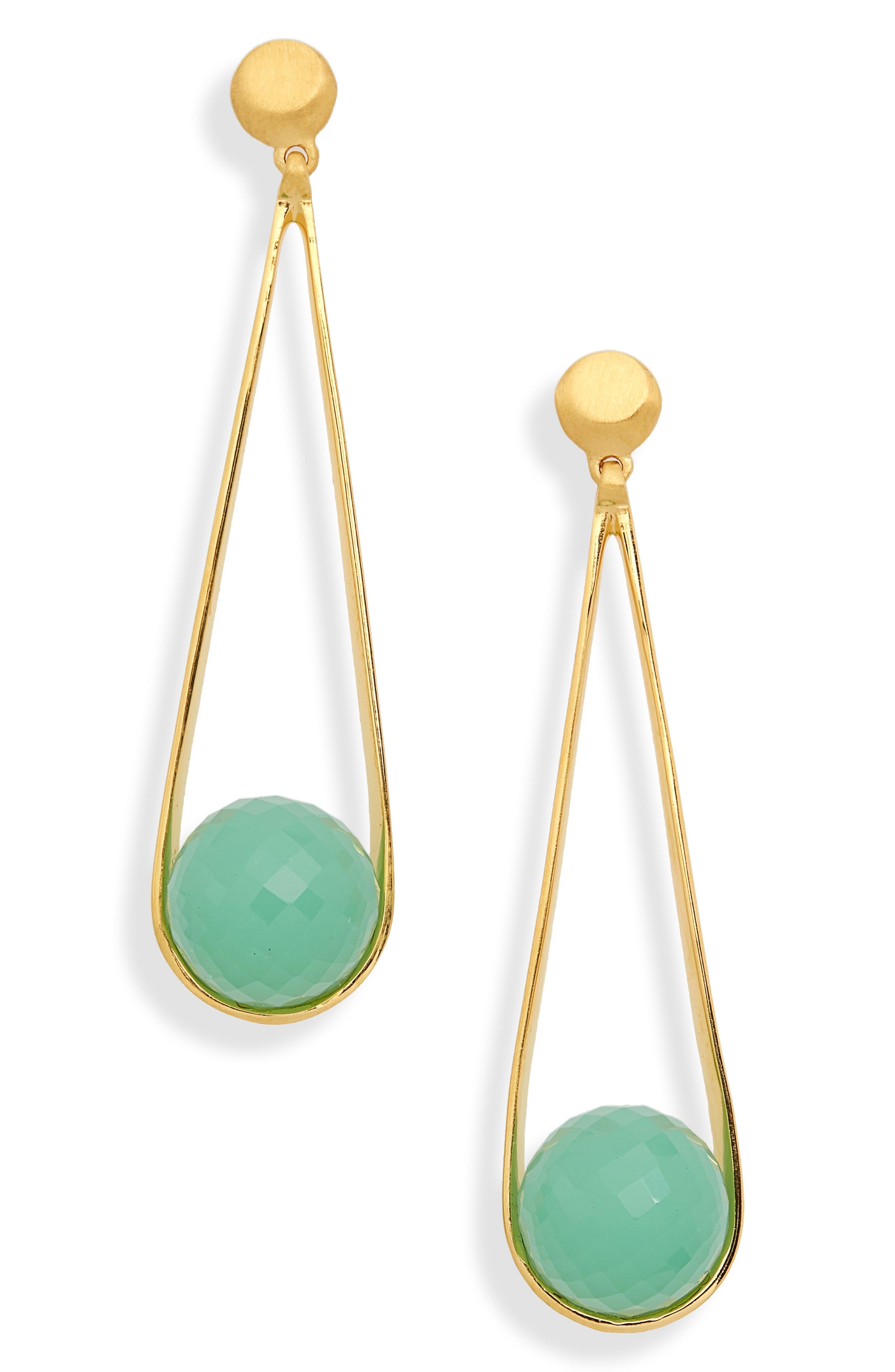 Ipanema Earrings,                         Main,                         color, Ocean Blue Chalcedony/ Gold