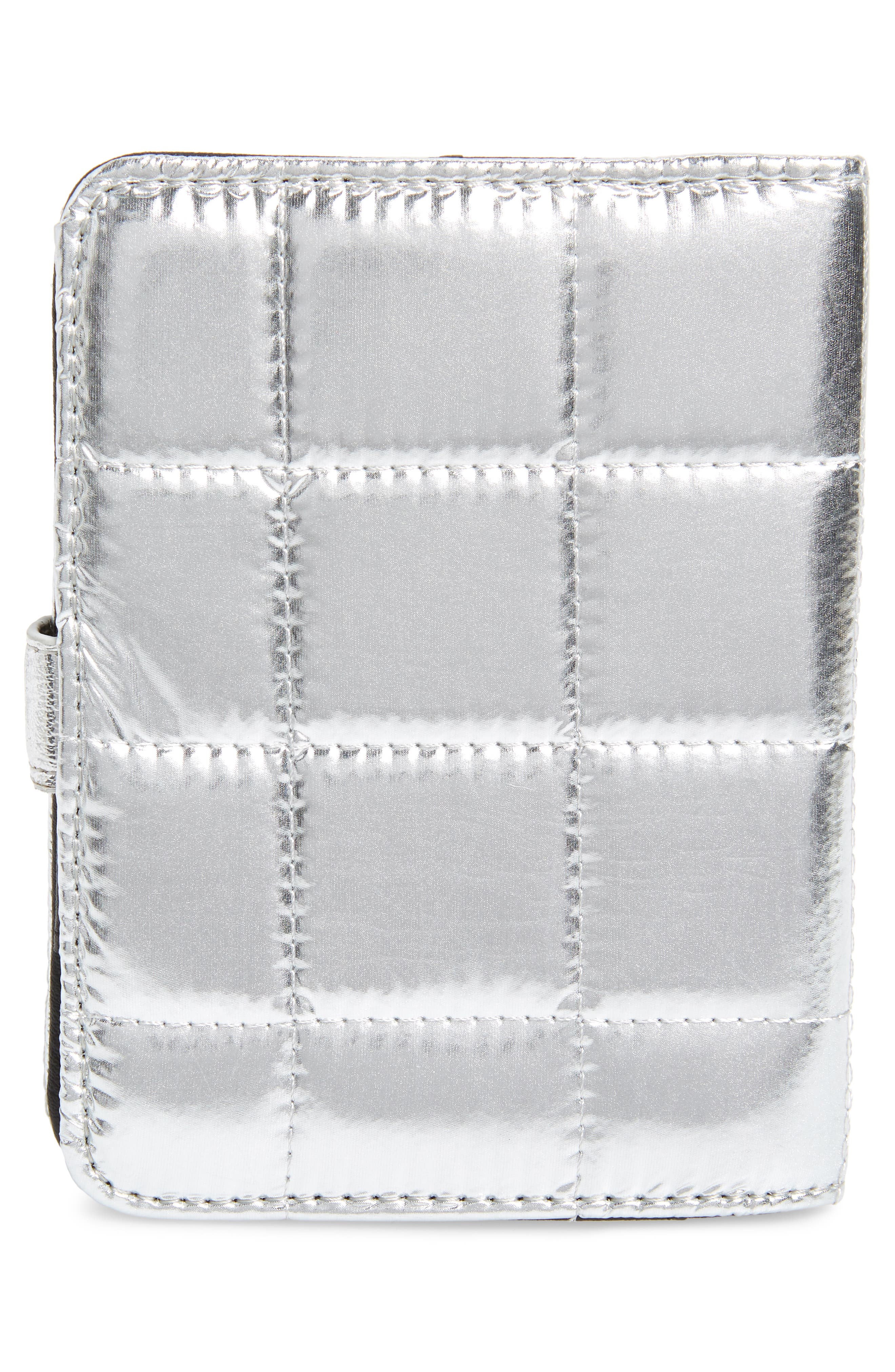 Metallic Puffer Wallet,                             Alternate thumbnail 4, color,                             Silver