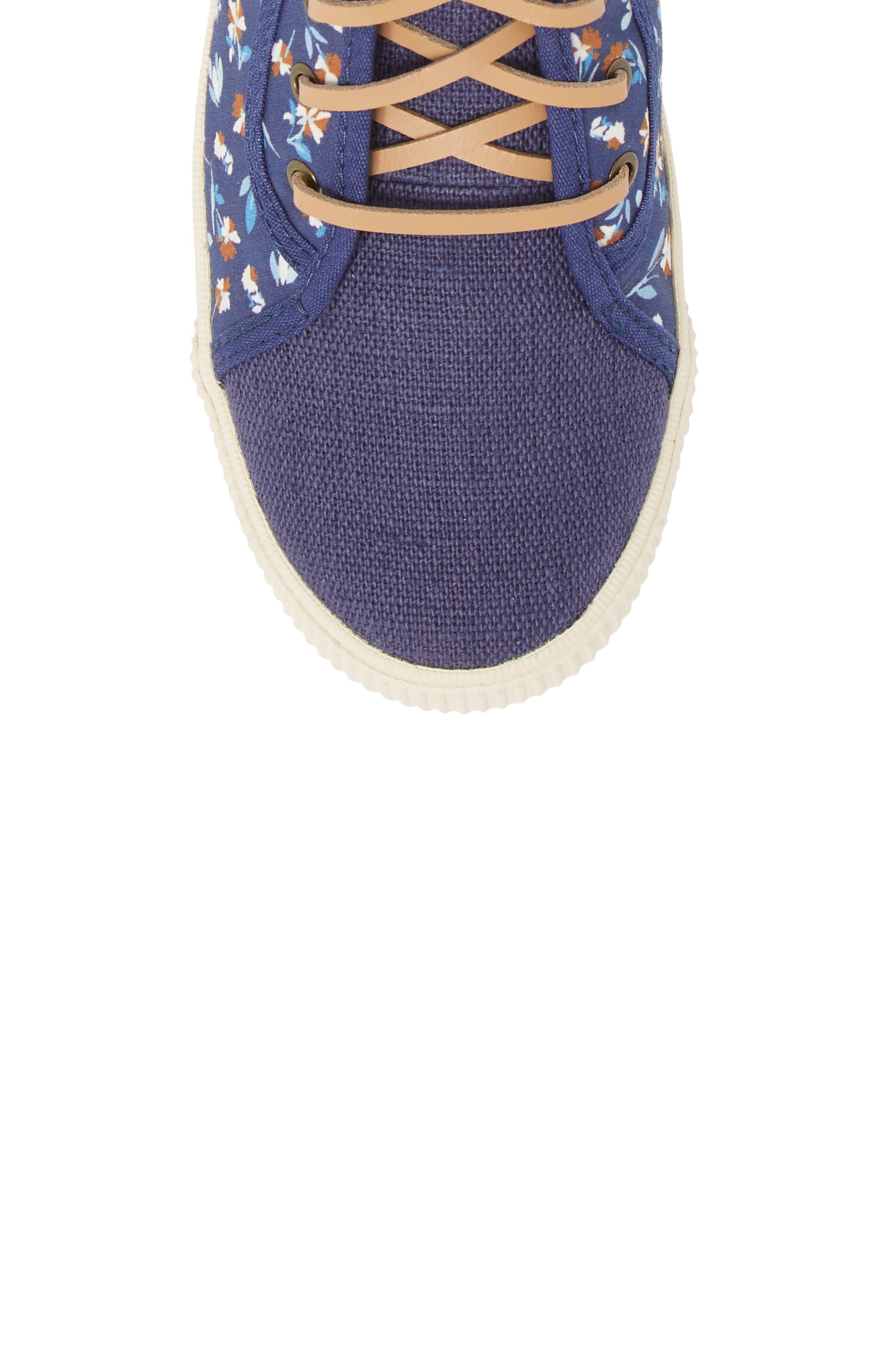 Camarillo High Top Sneaker,                             Alternate thumbnail 5, color,                             Deep Blue Vintage Flower