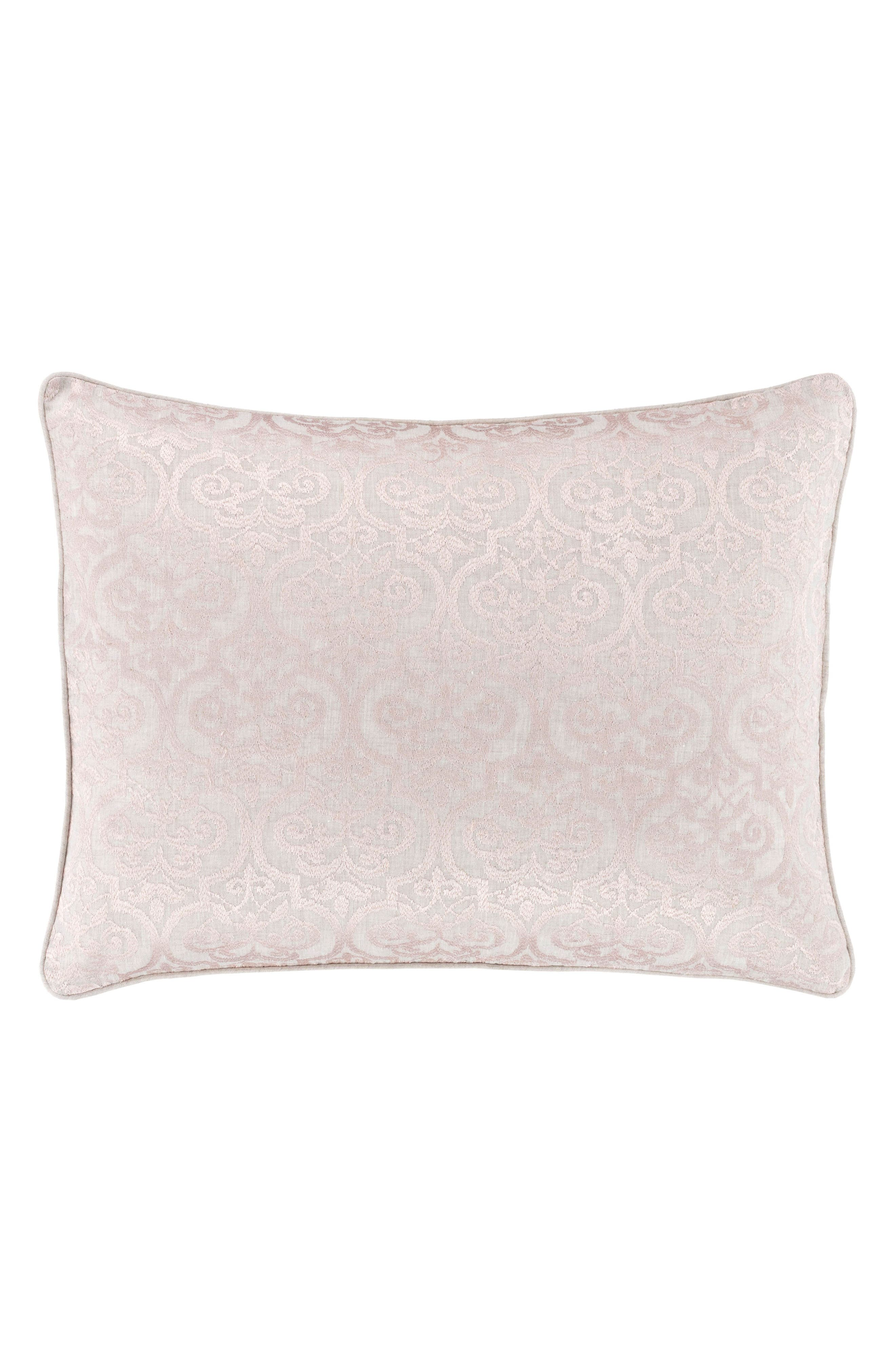 Gwendolyn Embroidered Linen Sham,                             Main thumbnail 1, color,                             Pink