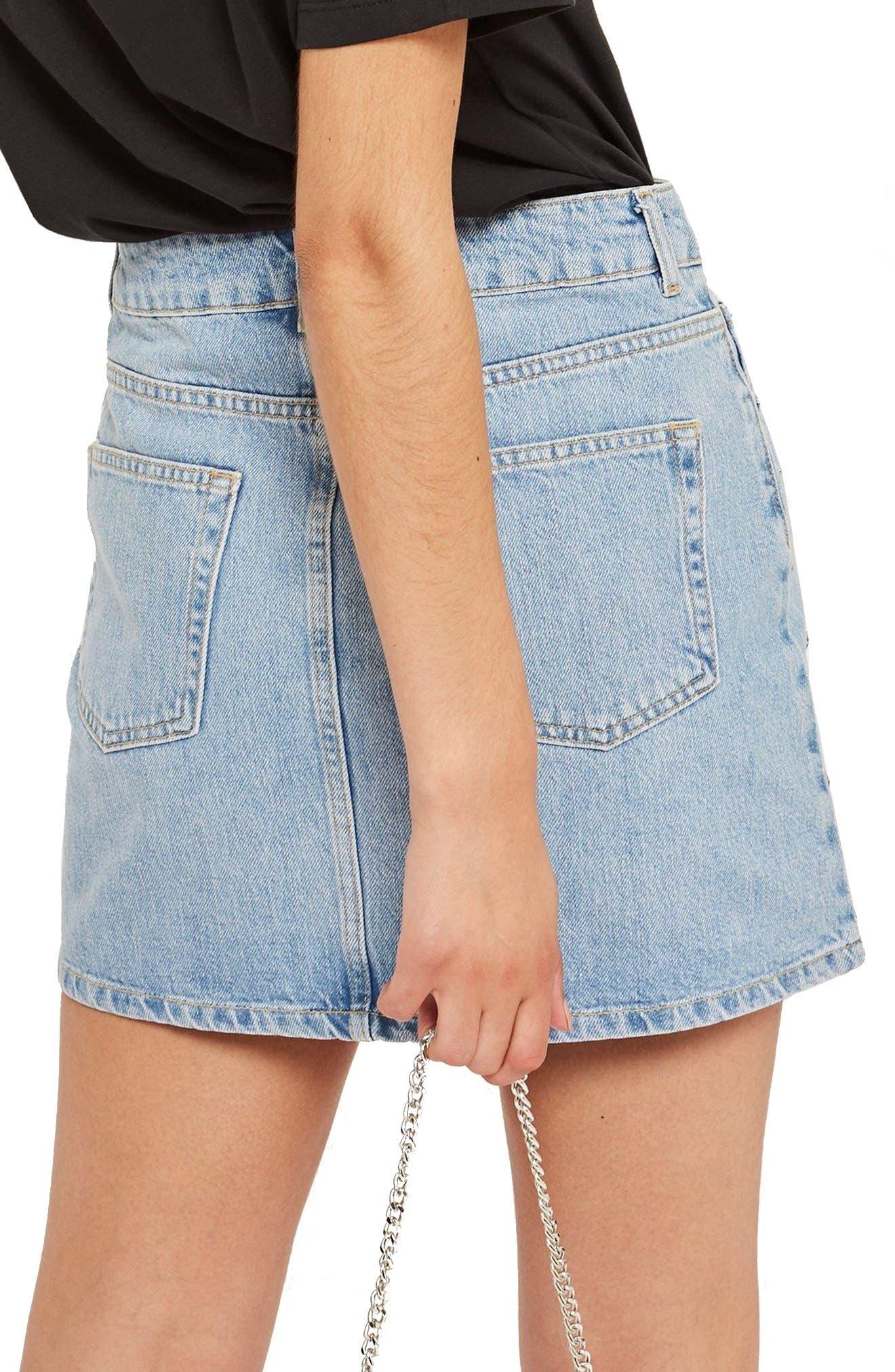 MOTO Star Studded High Waist Skirt,                             Alternate thumbnail 3, color,                             Mid Stone
