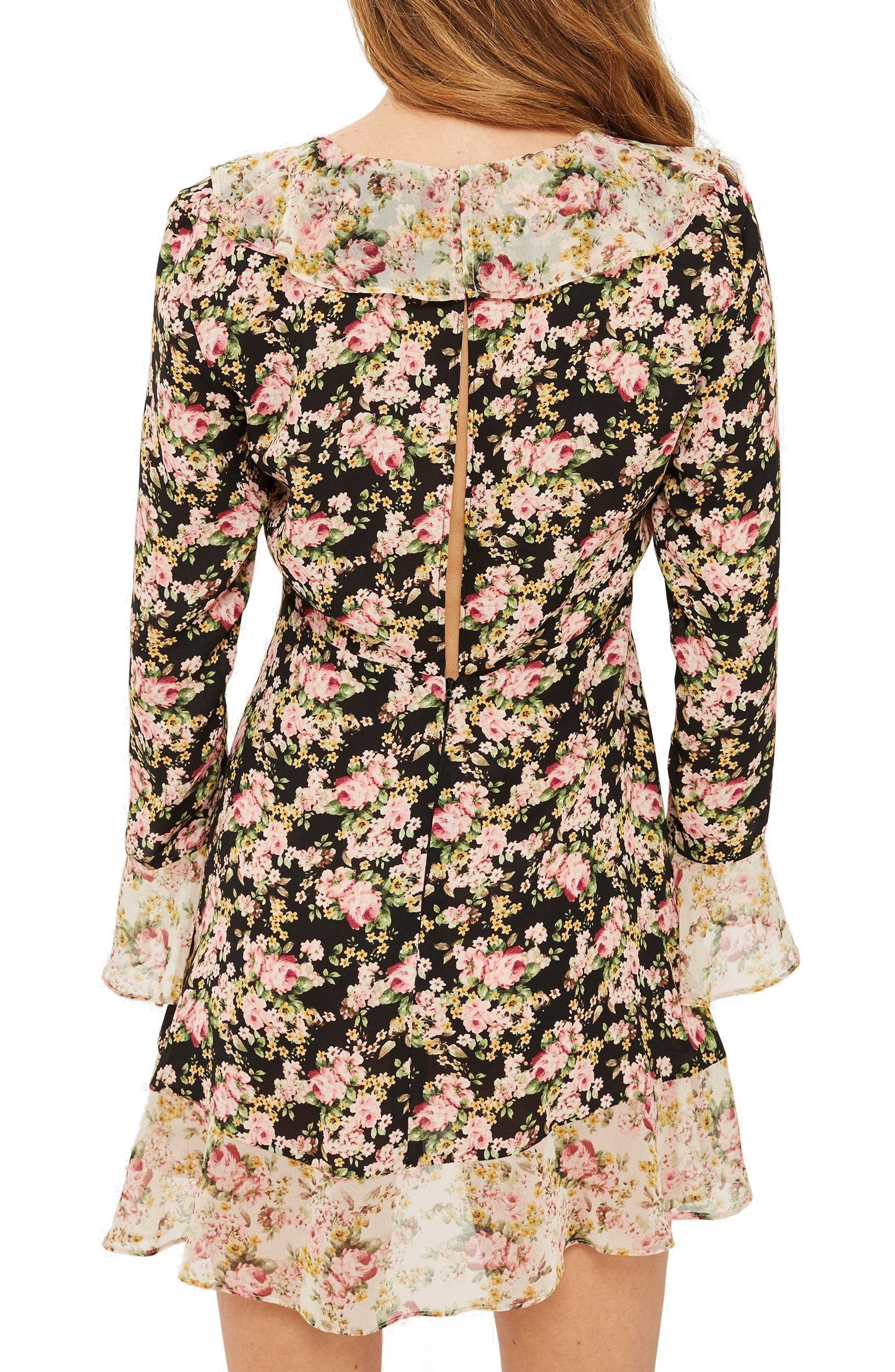 True Romance Ruffle Minidress,                             Alternate thumbnail 3, color,                             Black Multi