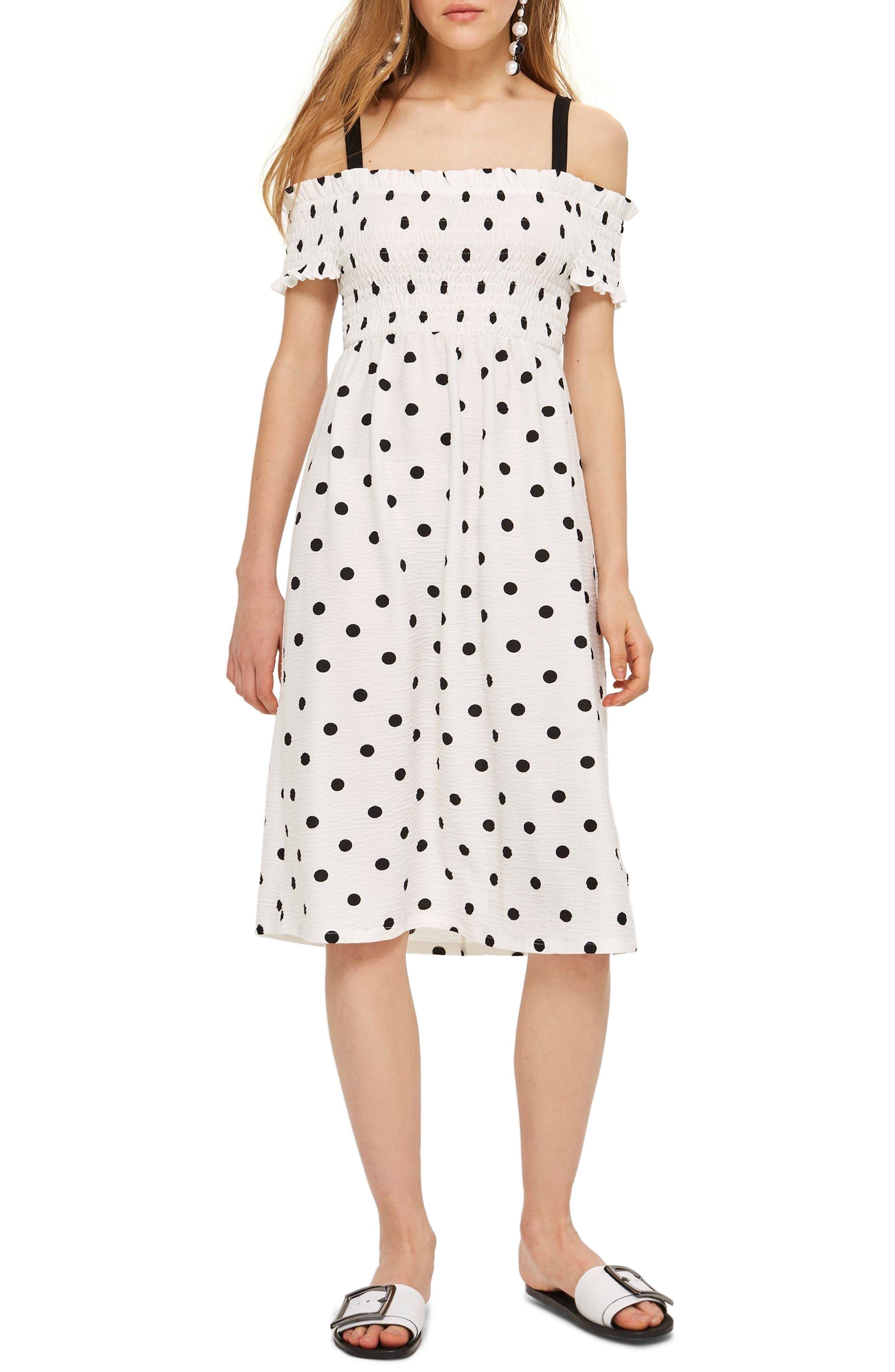 Spot Shirred Strappy Midi Dress,                         Main,                         color, White Multi