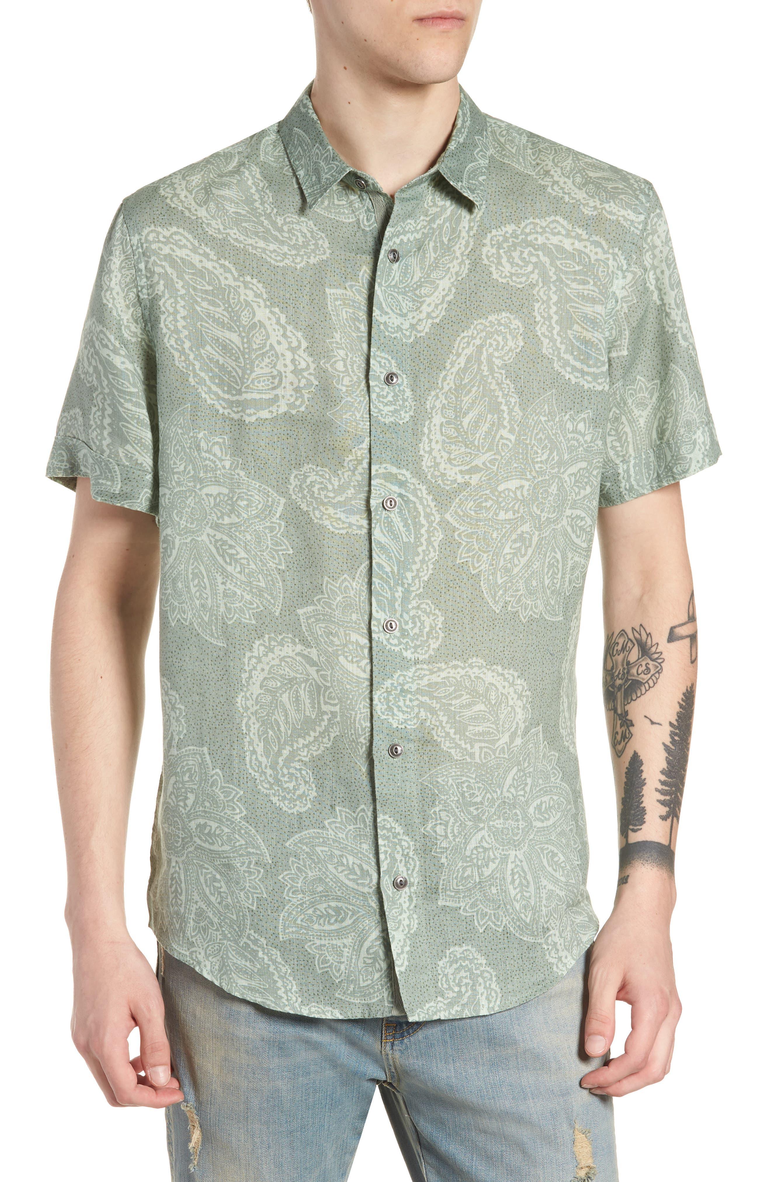 Paisley Linen Camp Shirt,                             Main thumbnail 1, color,                             Green Hedge Paisley Print