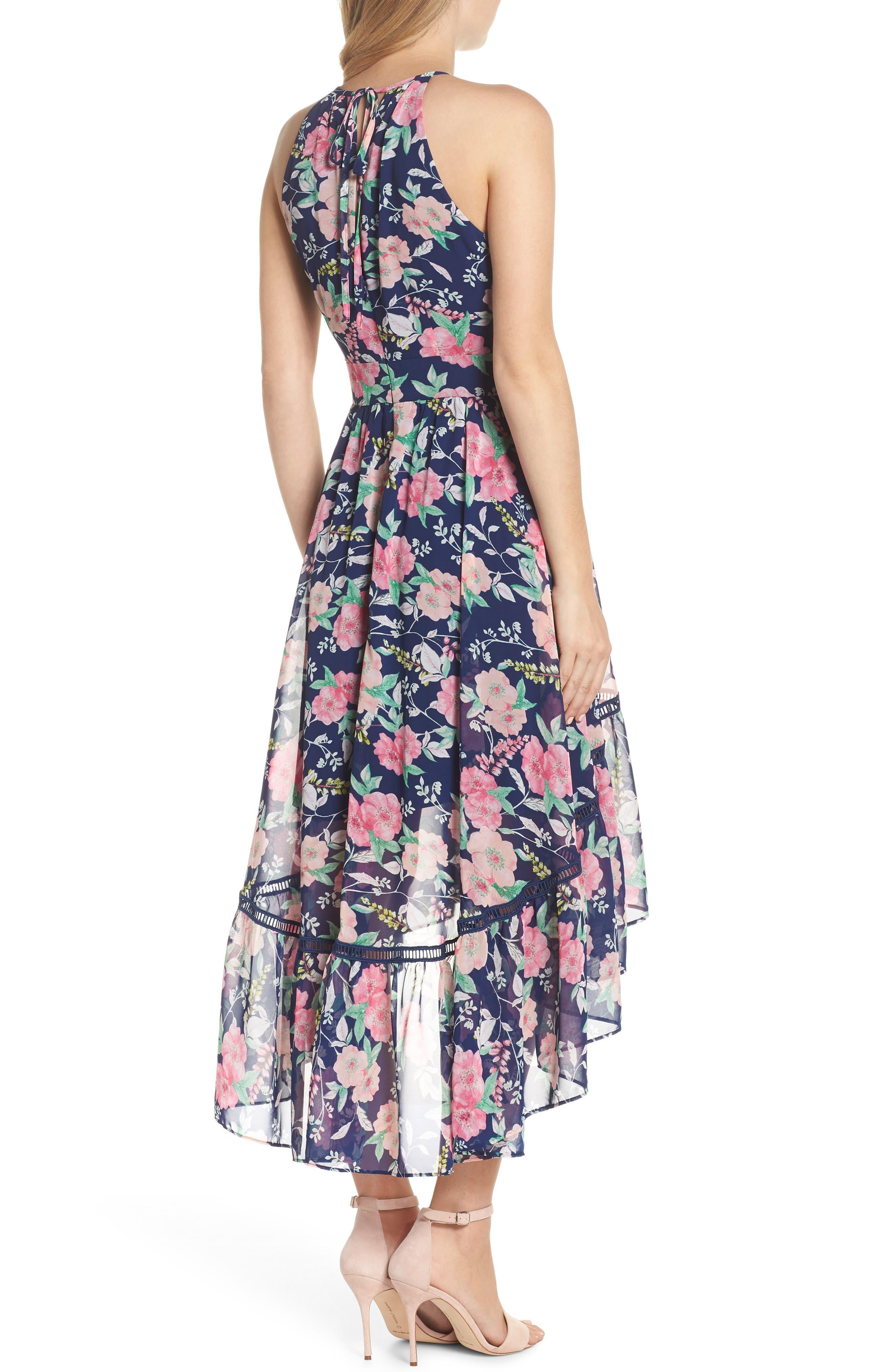 Halter Neck Fit & Flare Dress,                             Alternate thumbnail 2, color,                             Navy/ Pink