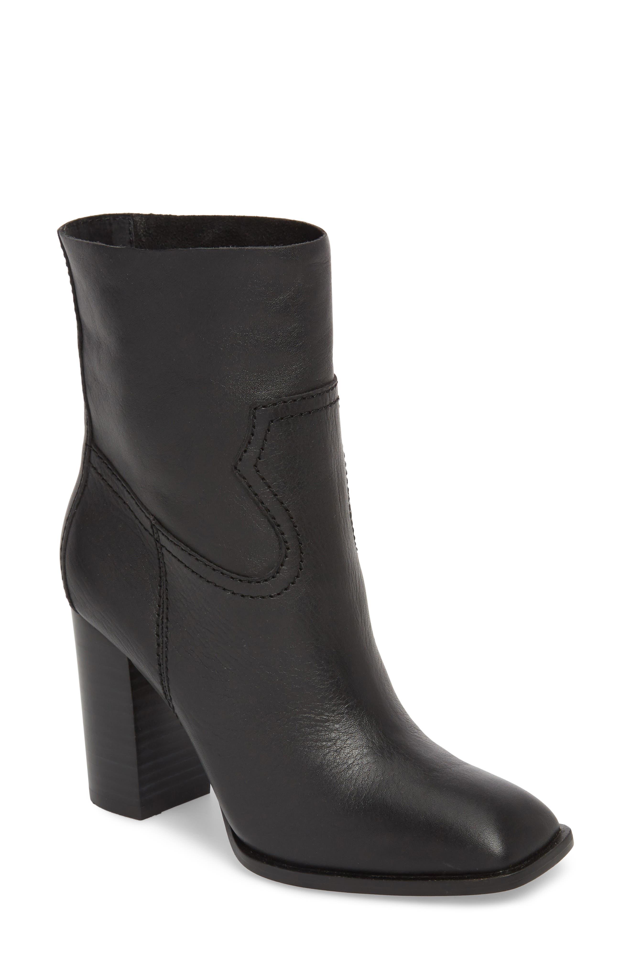 Nero Bootie,                         Main,                         color, Black Leather
