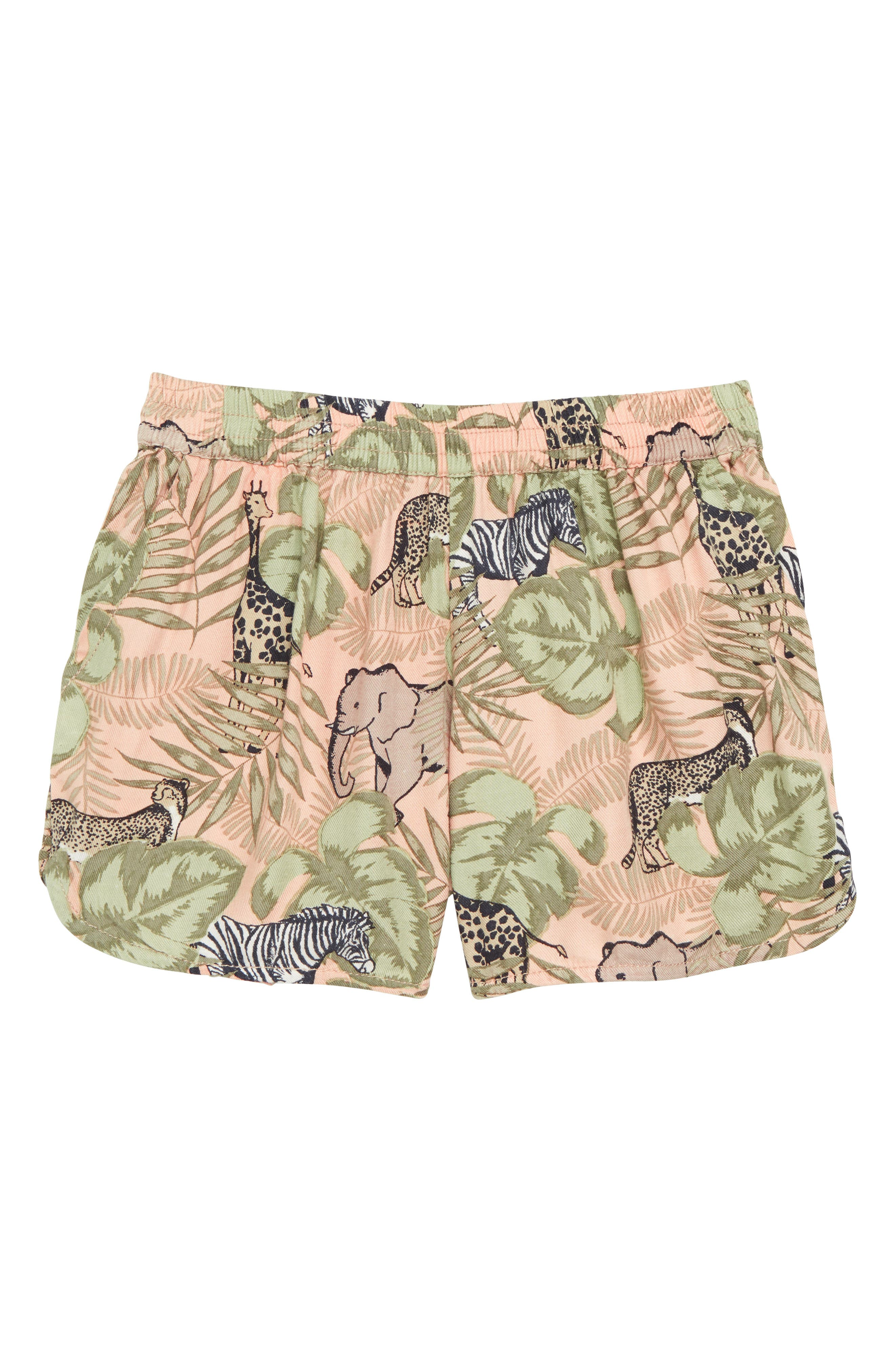 Savannah Print Shorts,                             Main thumbnail 1, color,                             Peach
