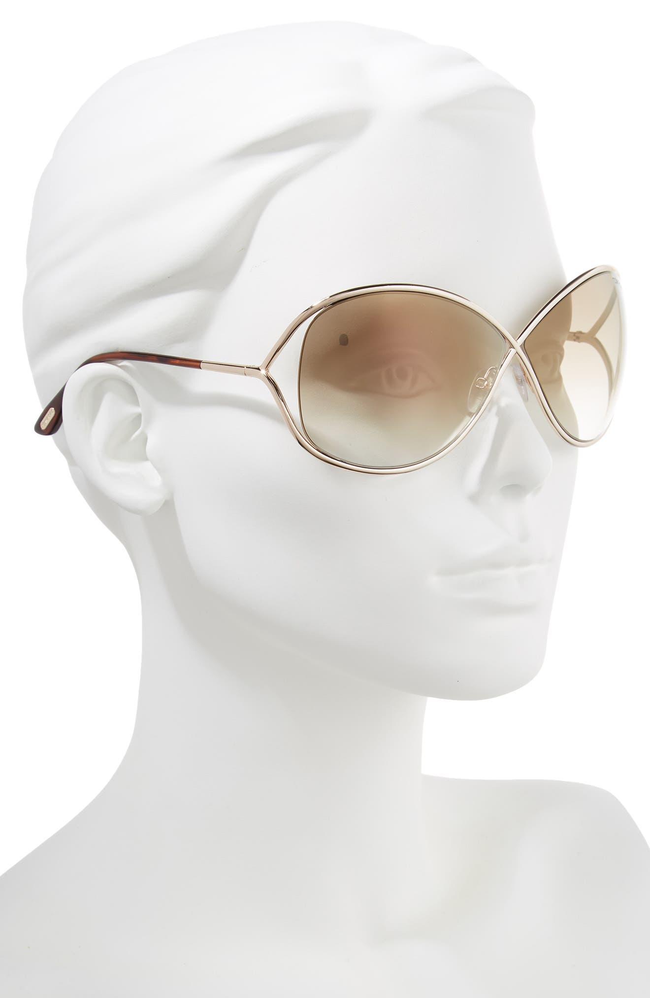Miranda 68mm Open Temple Oversize Metal Sunglasses,                             Alternate thumbnail 2, color,                             Shiny Rose Gold/ Brown