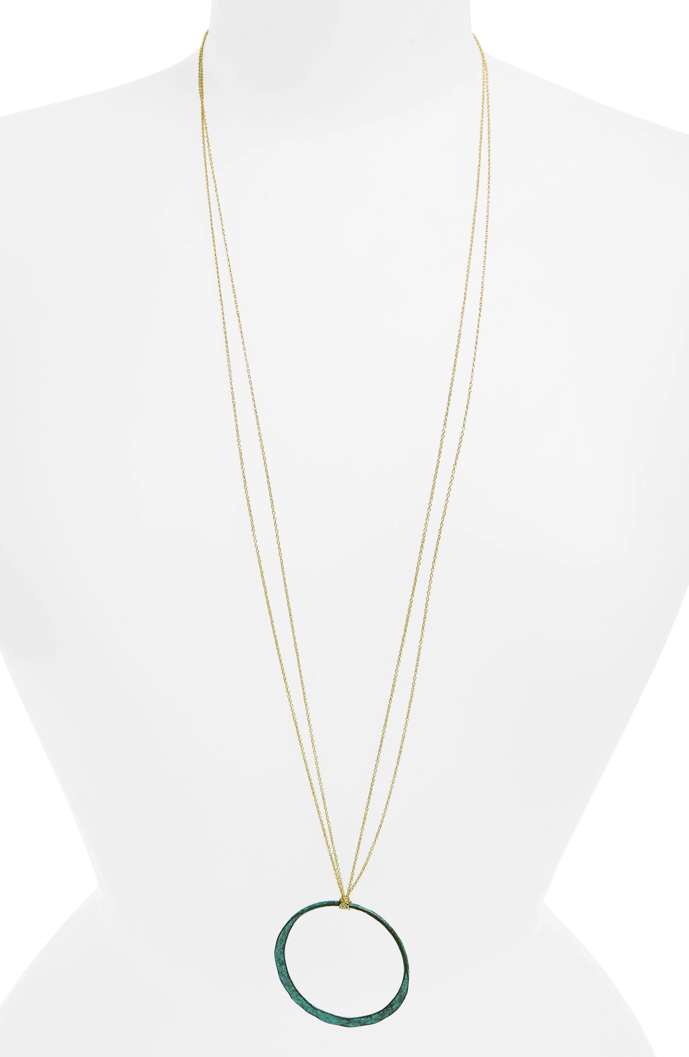 Circle Pendant Necklace,                         Main,                         color, Dark Green/ Gold