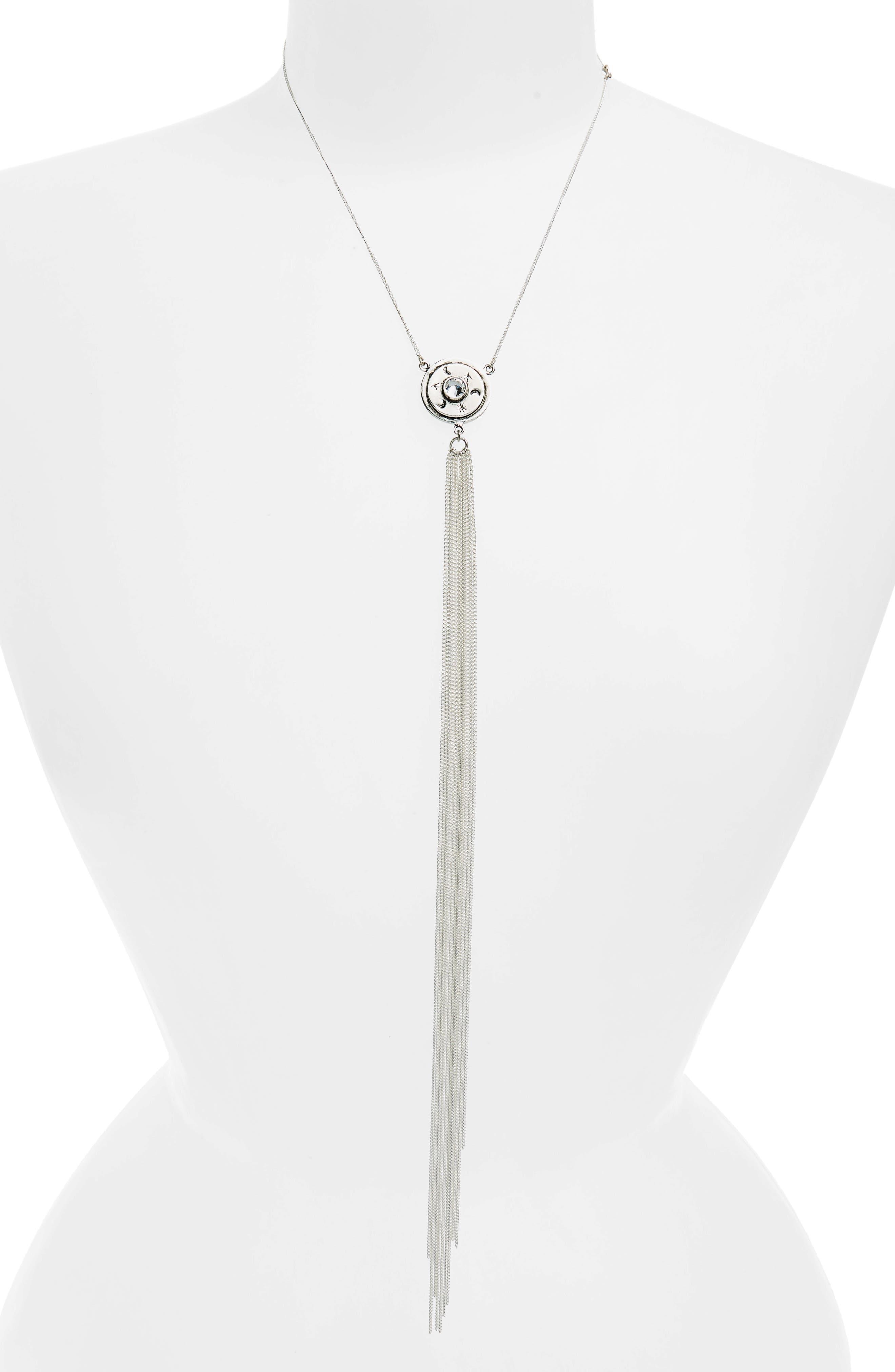 Mother Goddess Fringe Necklace,                         Main,                         color, Silver