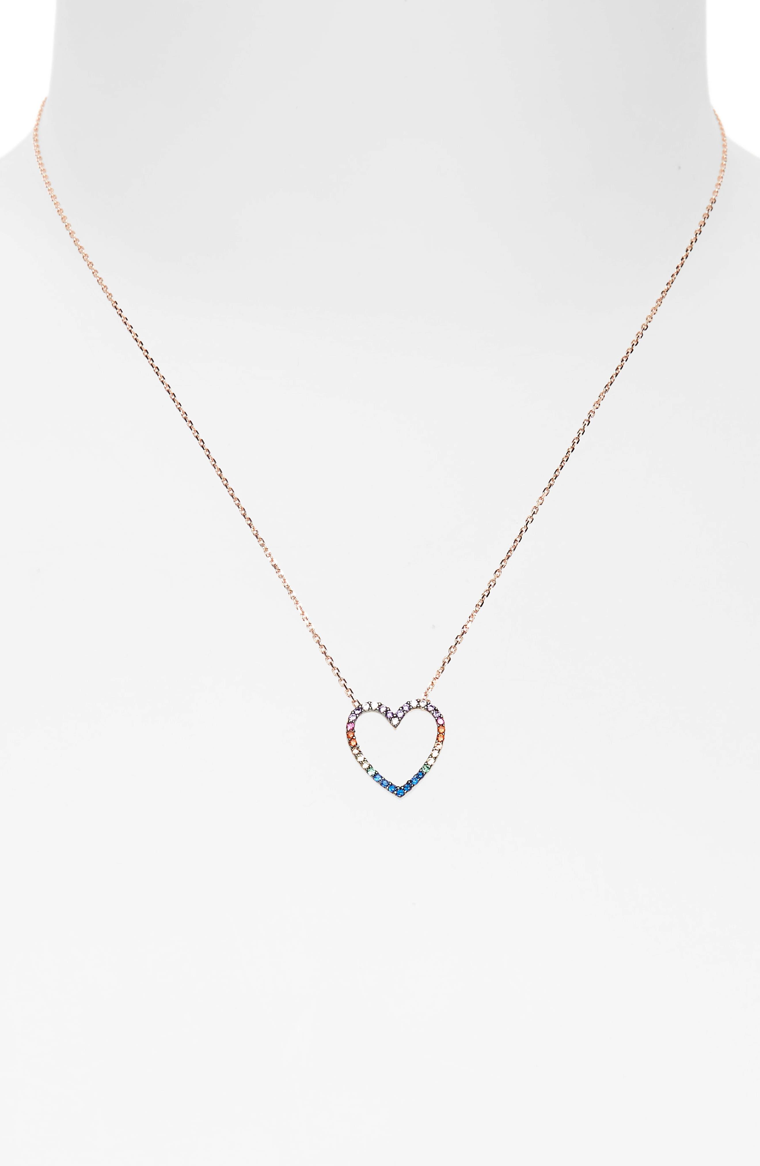 Rainbow Heart Pendant Necklace,                             Alternate thumbnail 2, color,                             Rose Gold/ Multi