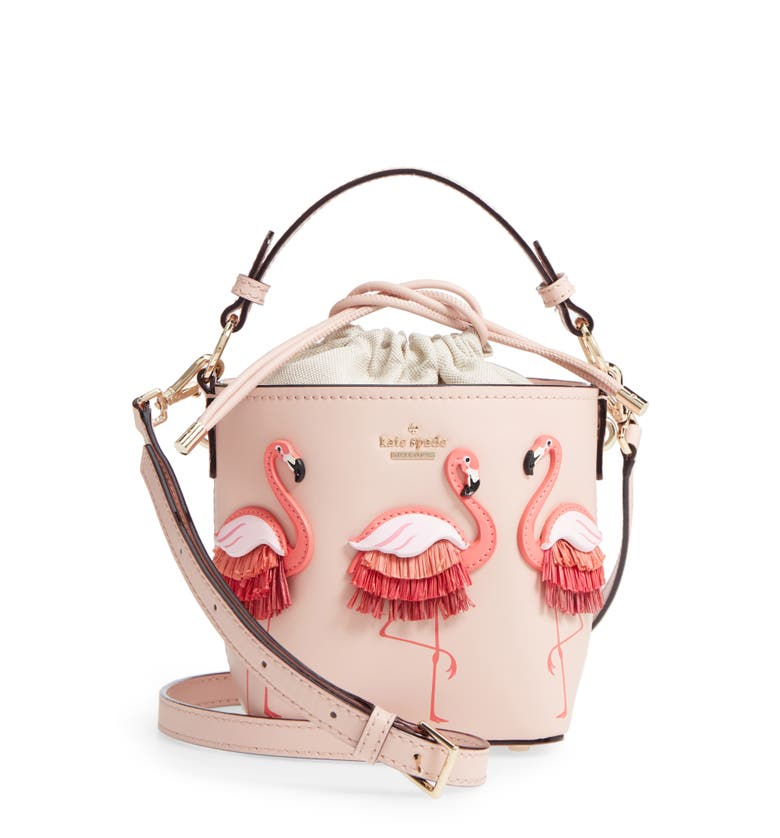 kate spade new york by the pool - flamingo pippa leather bucket bag