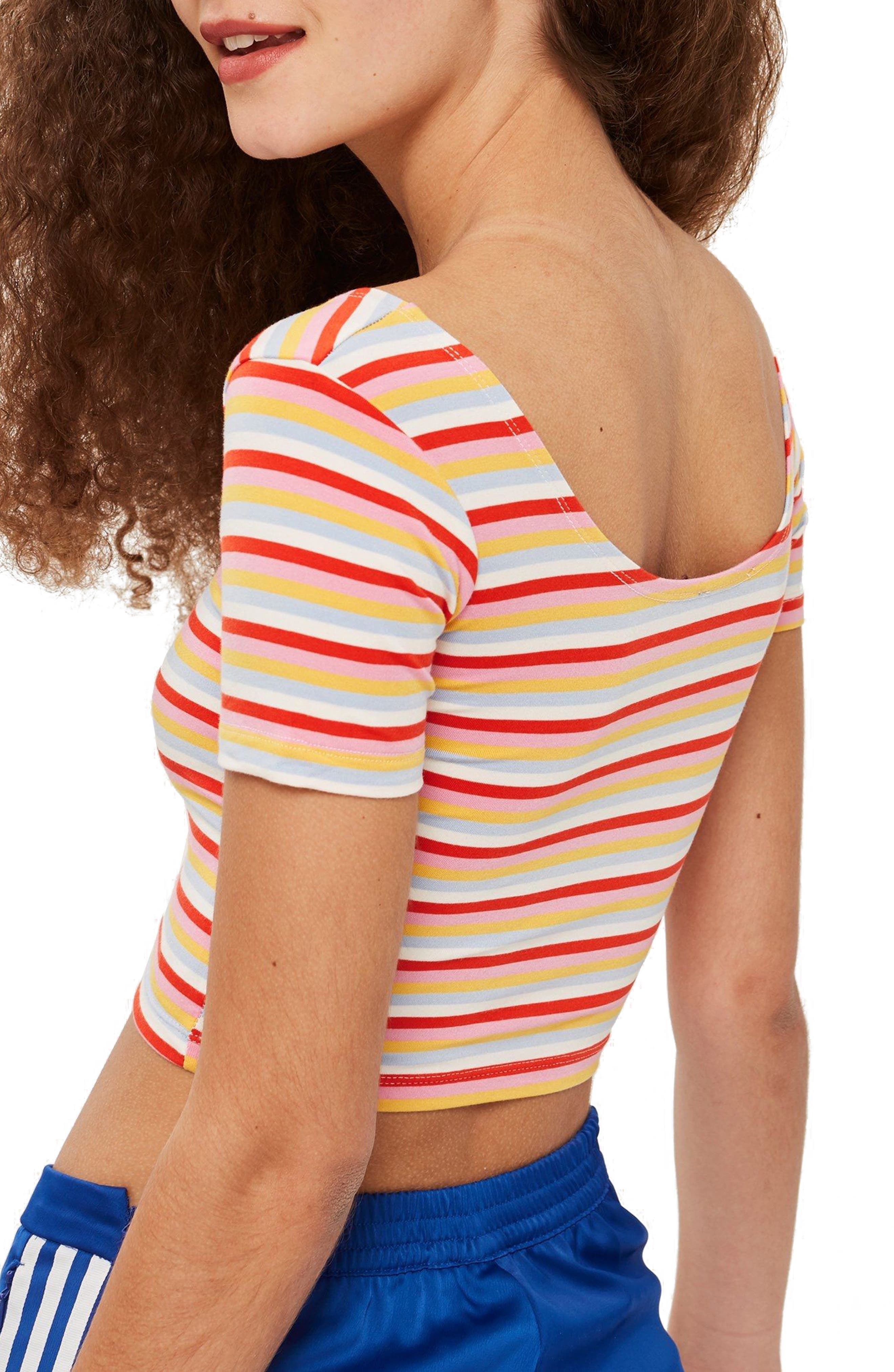 Stripe Crop Top,                             Alternate thumbnail 2, color,                             Red Mutli