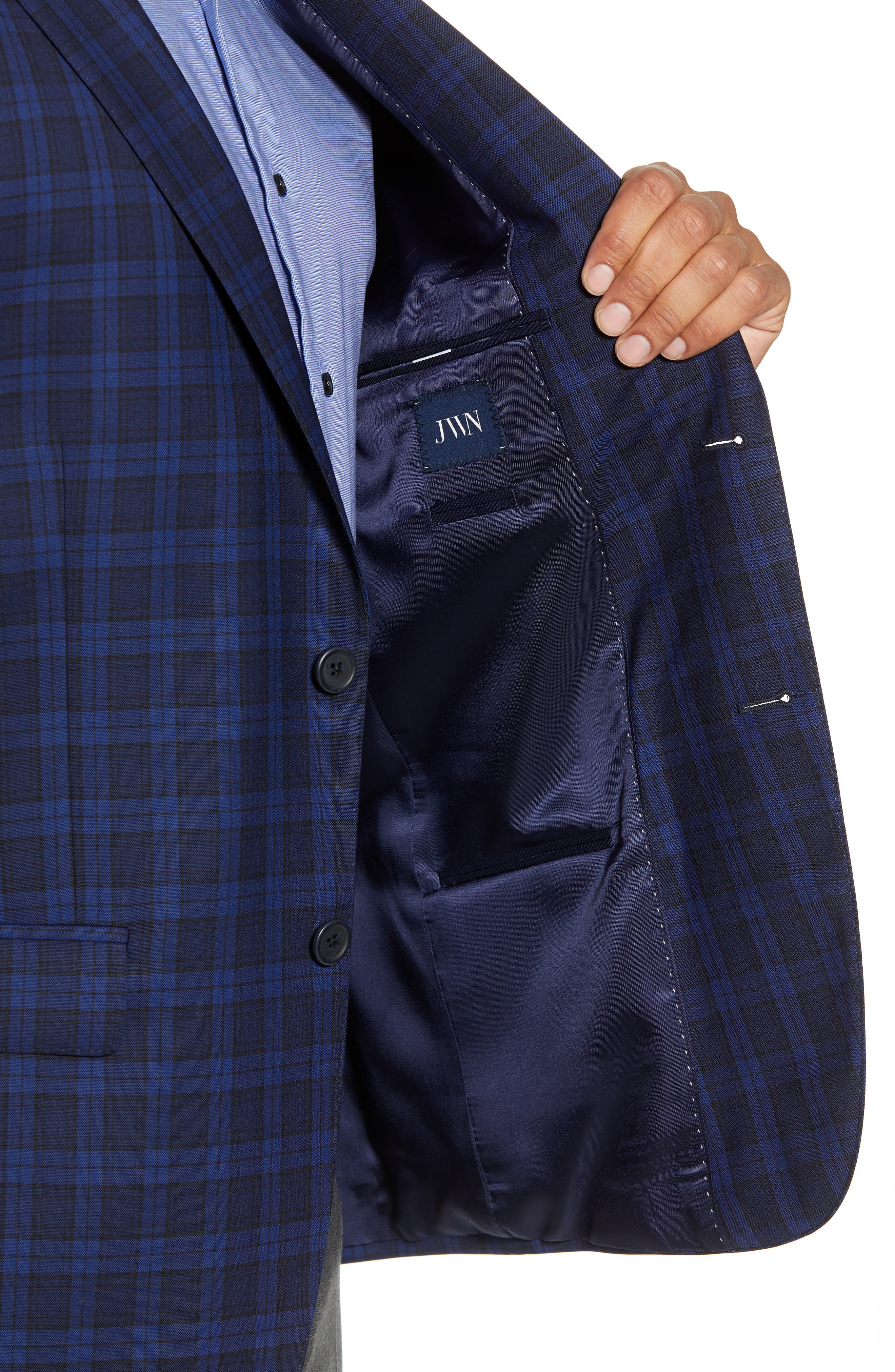 Traditional Fit Plaid Wool Sport Coat,                             Alternate thumbnail 5, color,                             Blue