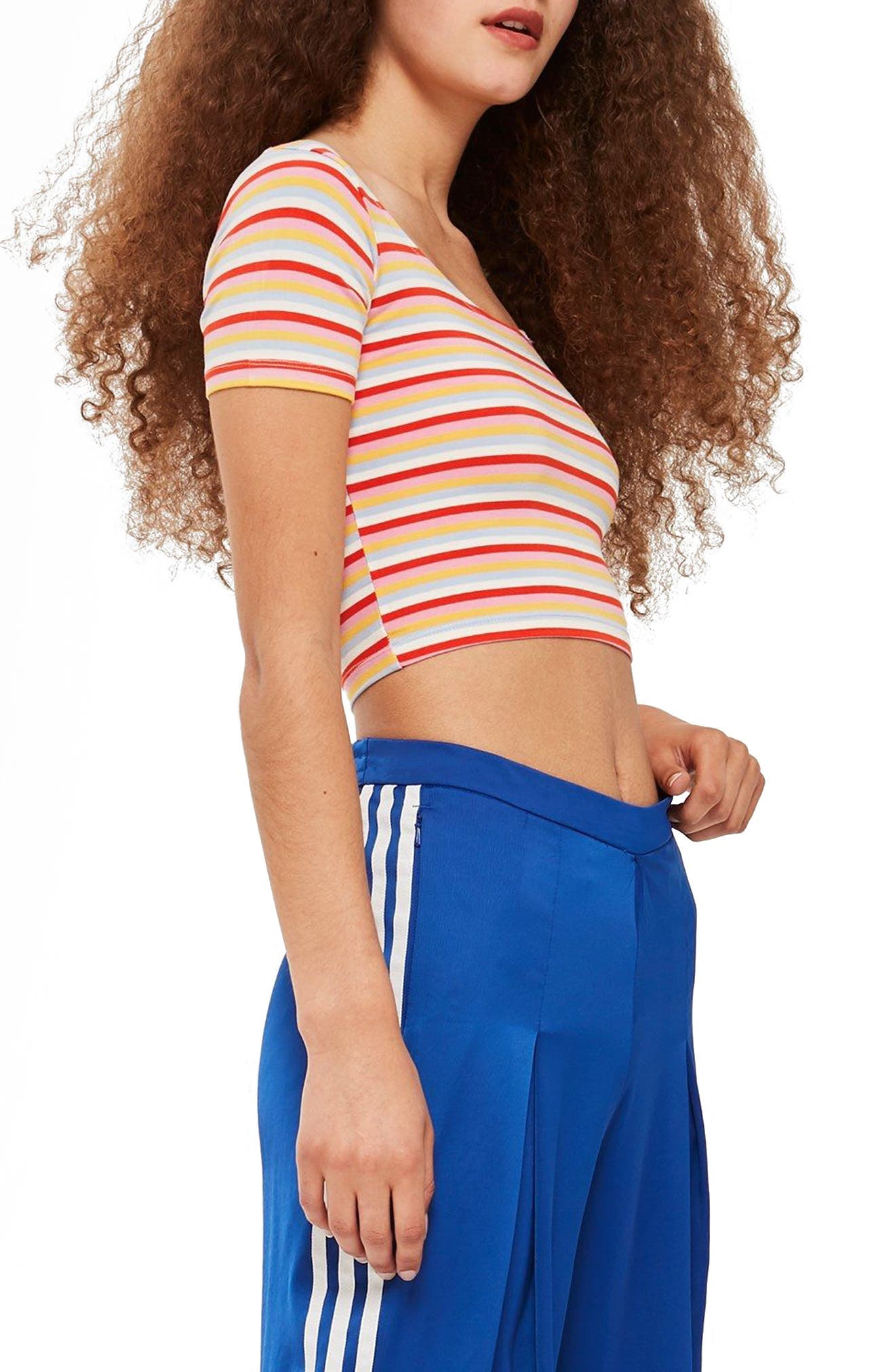 Stripe Crop Top,                             Alternate thumbnail 3, color,                             Red Mutli