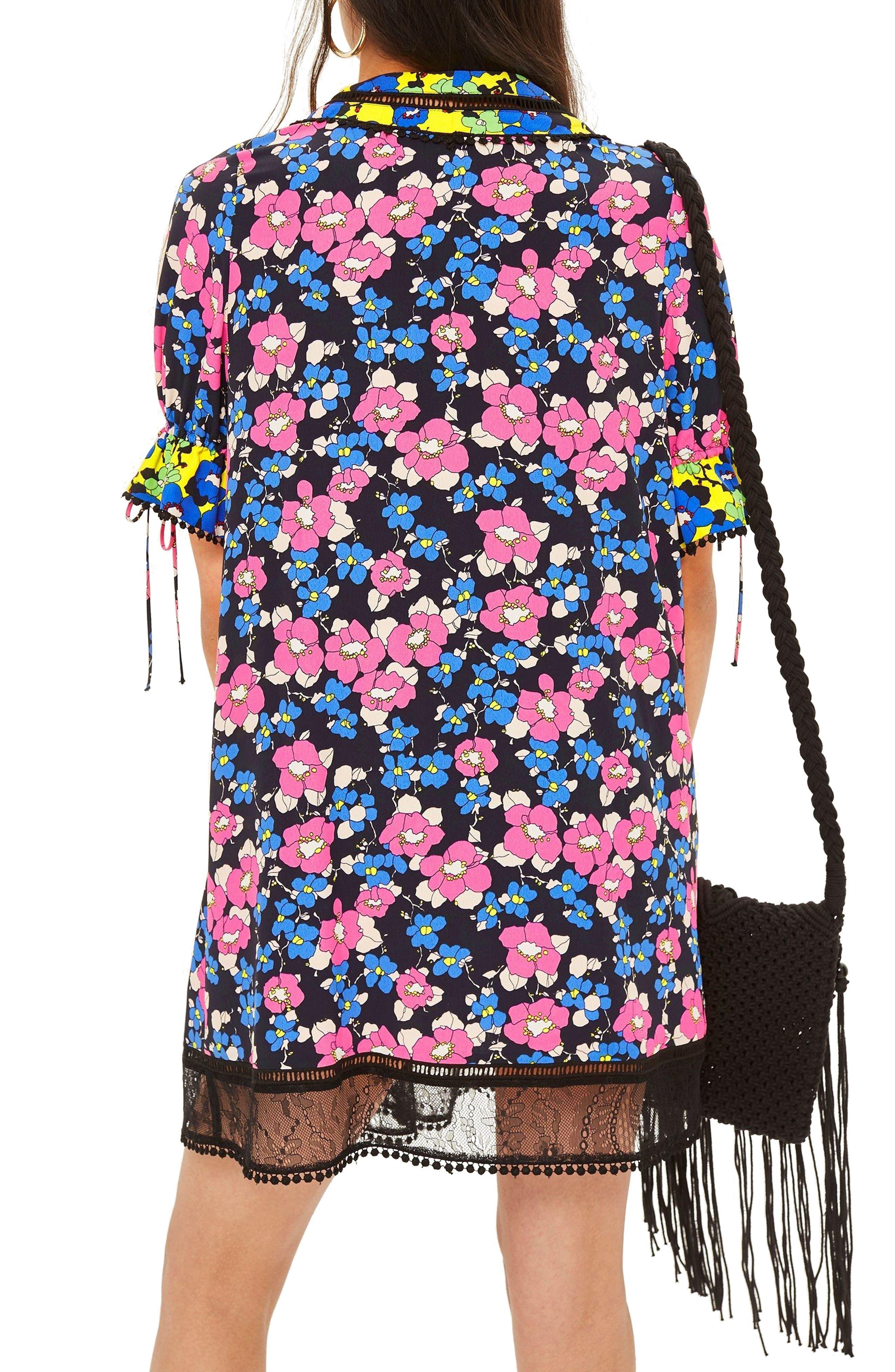 Floral Print Minidress,                             Alternate thumbnail 2, color,                             Blue Multi