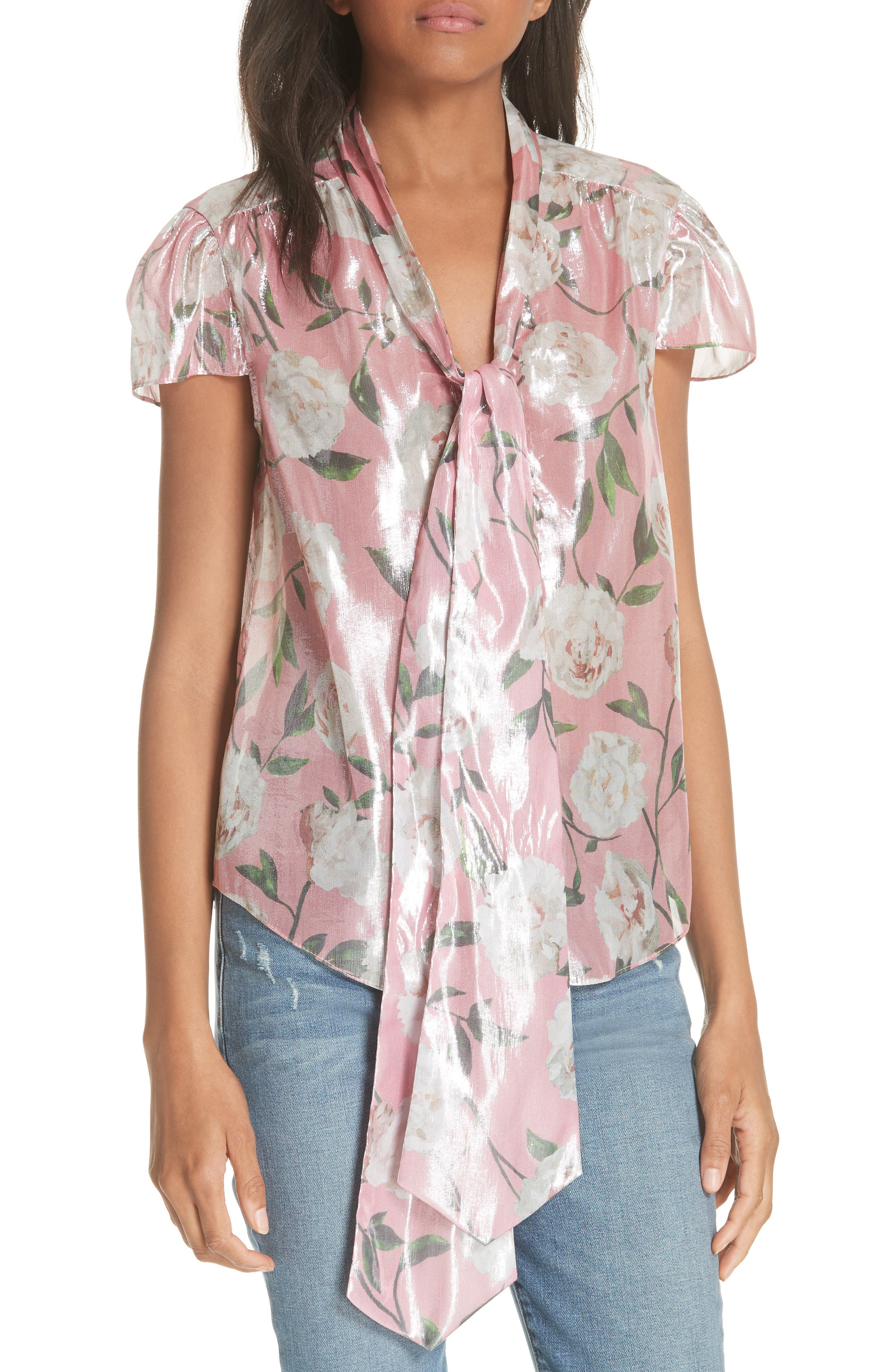 Jeannie Bow Collar Silk Blend Top,                             Main thumbnail 1, color,                             Peony Garden Wall/ Bubblegum