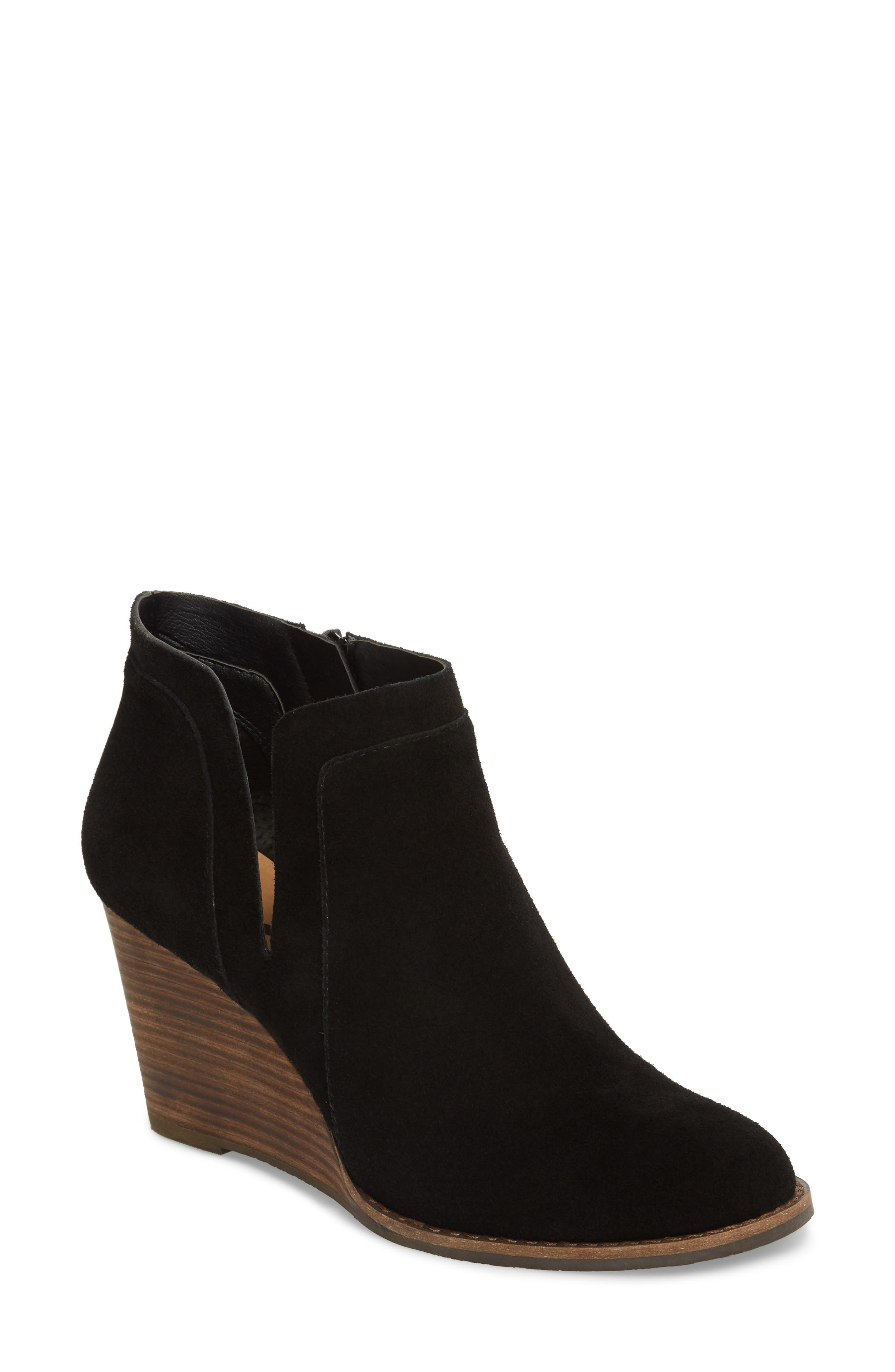 Yabba Wedge Bootie, Main, color, Black Suede
