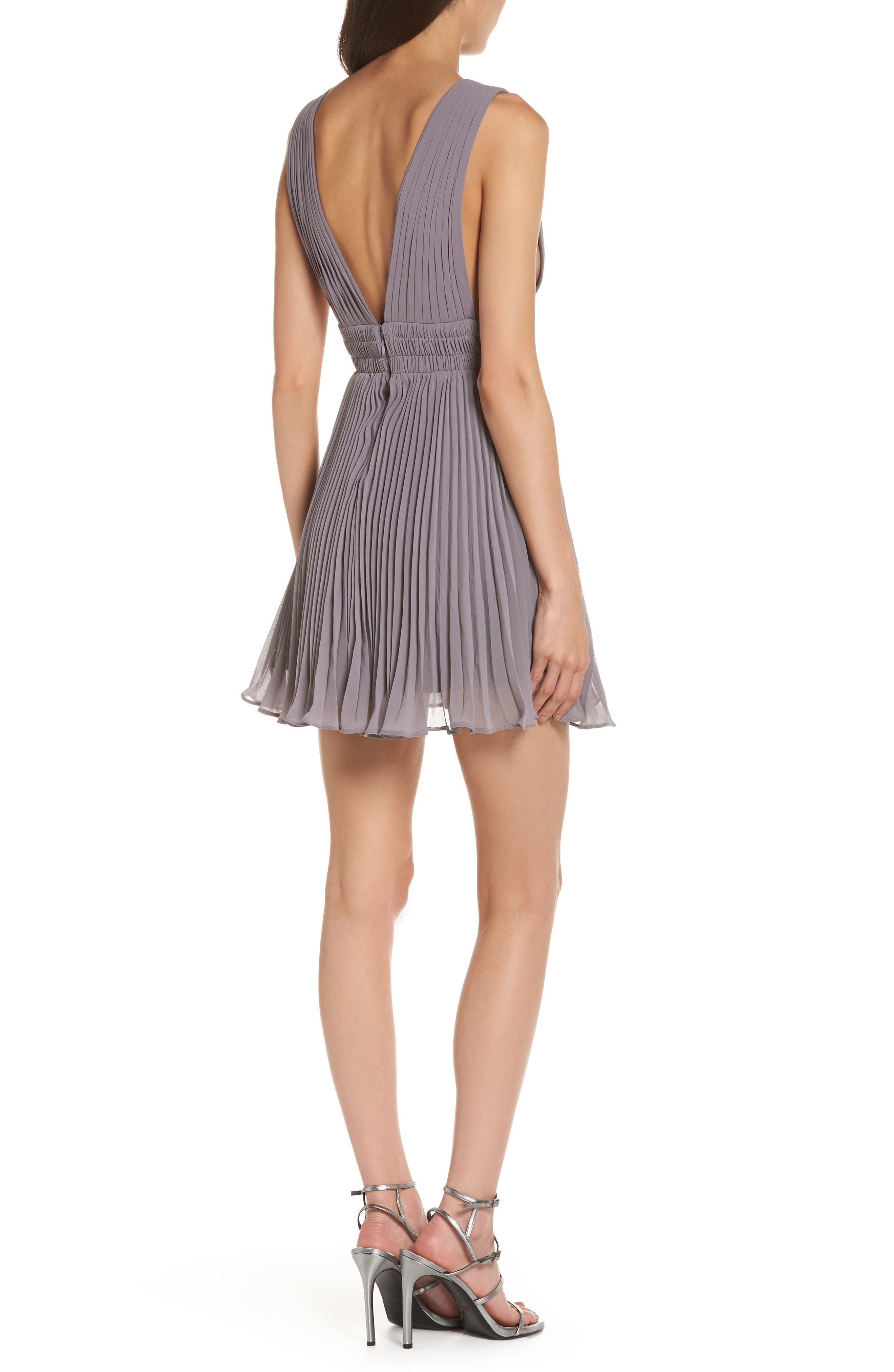 Fame & Partners The Briella Fit & Flare Pleat Dress,                             Alternate thumbnail 2, color,                             Mid-Grey