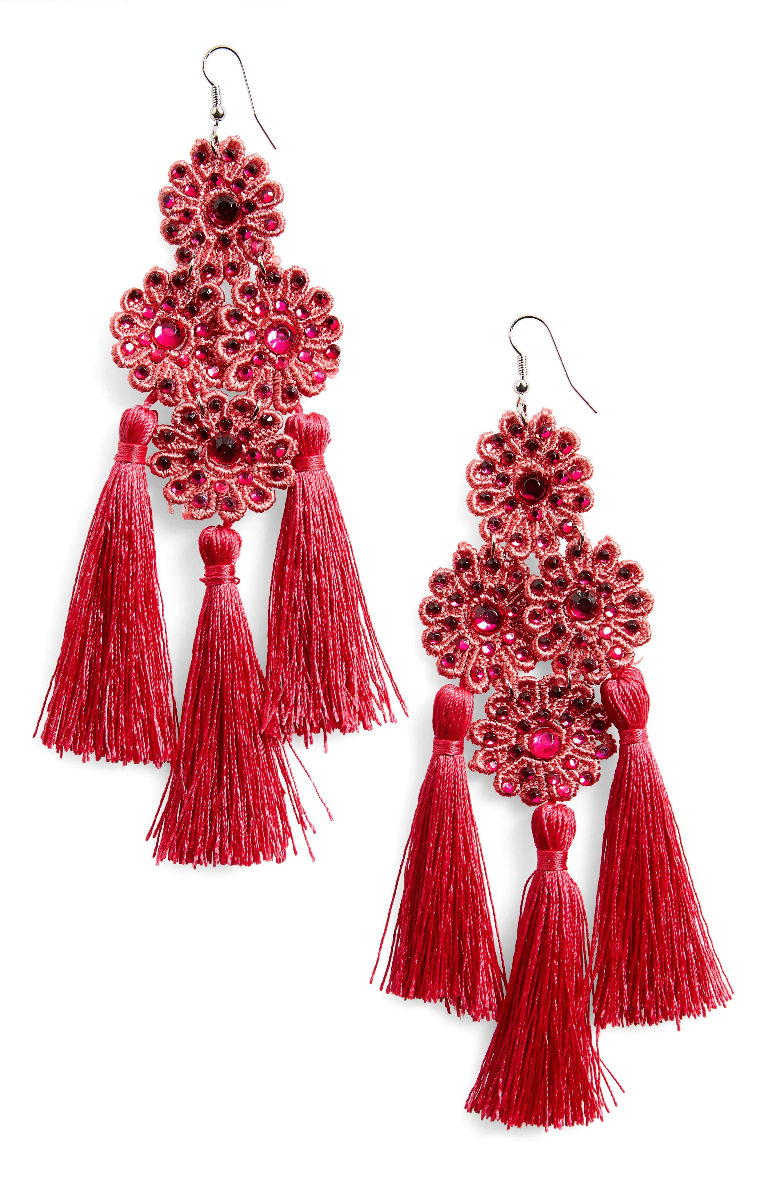 Flower Tassel Earrings,                         Main,                         color, Fuchsia