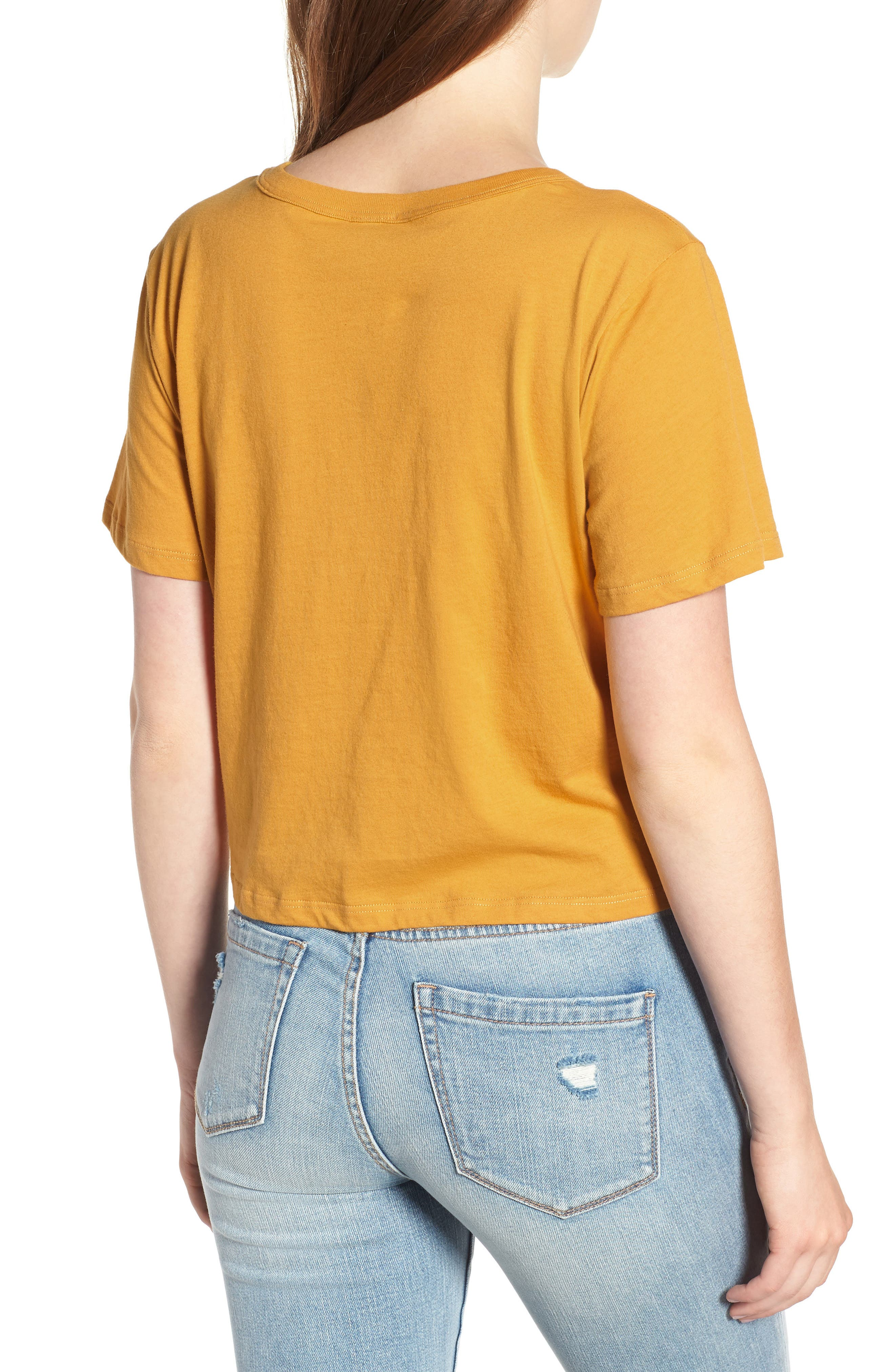 Smiley Tie Hem Boxy Tee,                             Alternate thumbnail 2, color,                             Golden