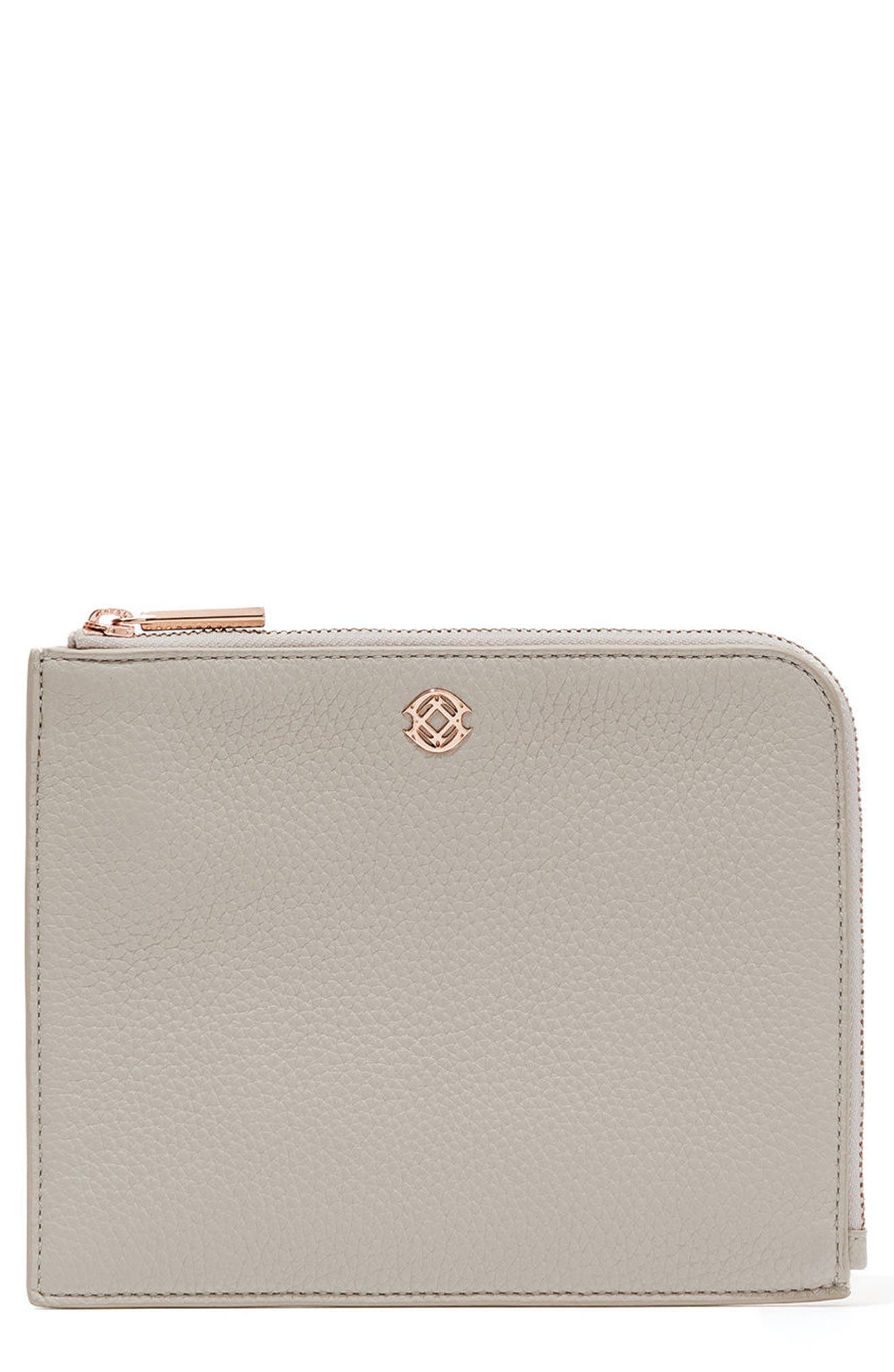 Small Elle Leather Clutch,                         Main,                         color, Bone