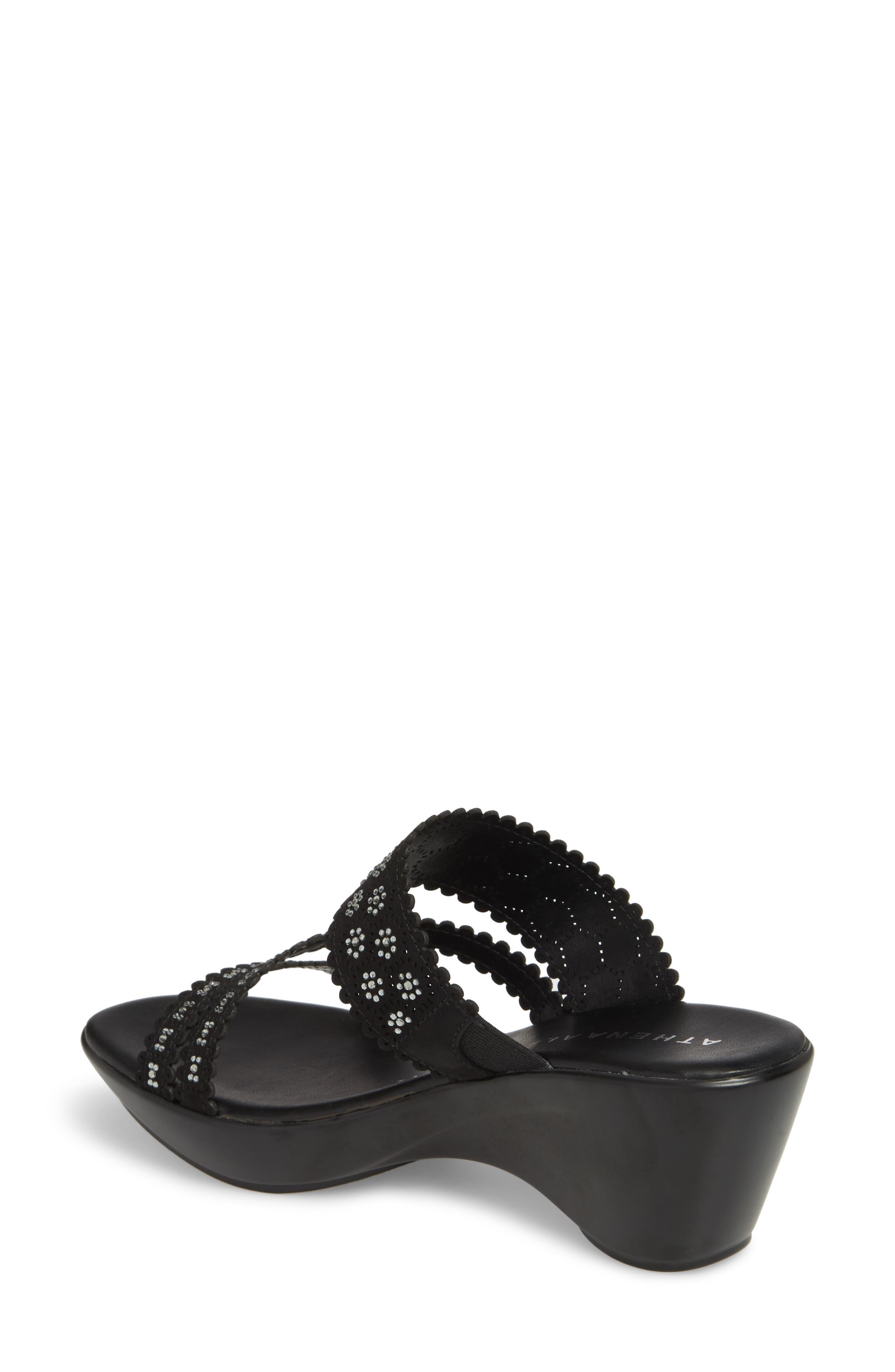 Poppy Wedge Sandal,                             Alternate thumbnail 2, color,                             Black Fabric
