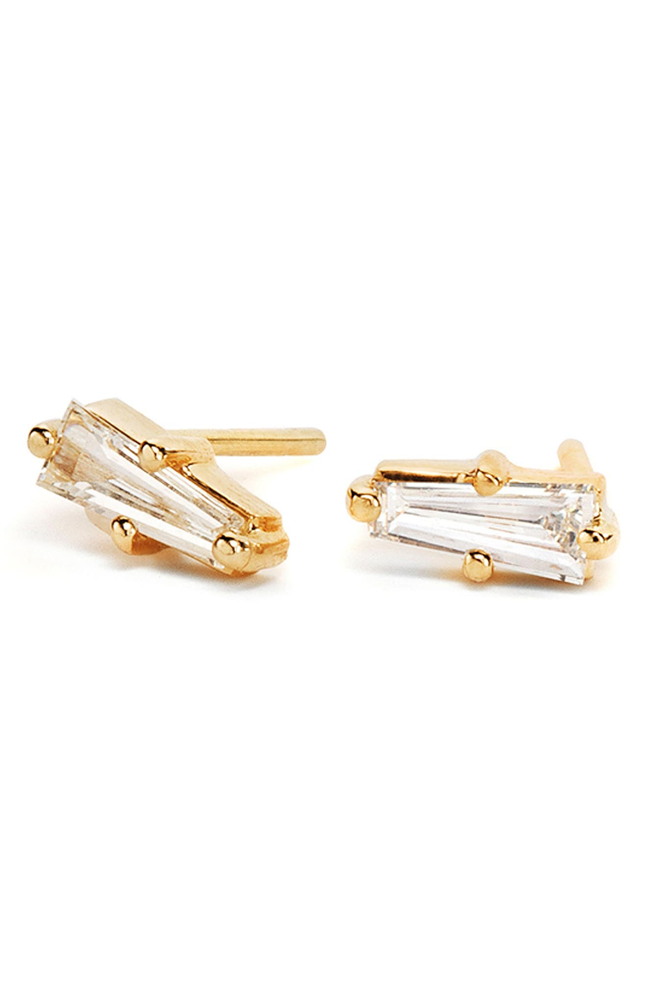 NORA KOGAN Paloma Triangle Diamond Stud Earrings in Yellow Gold