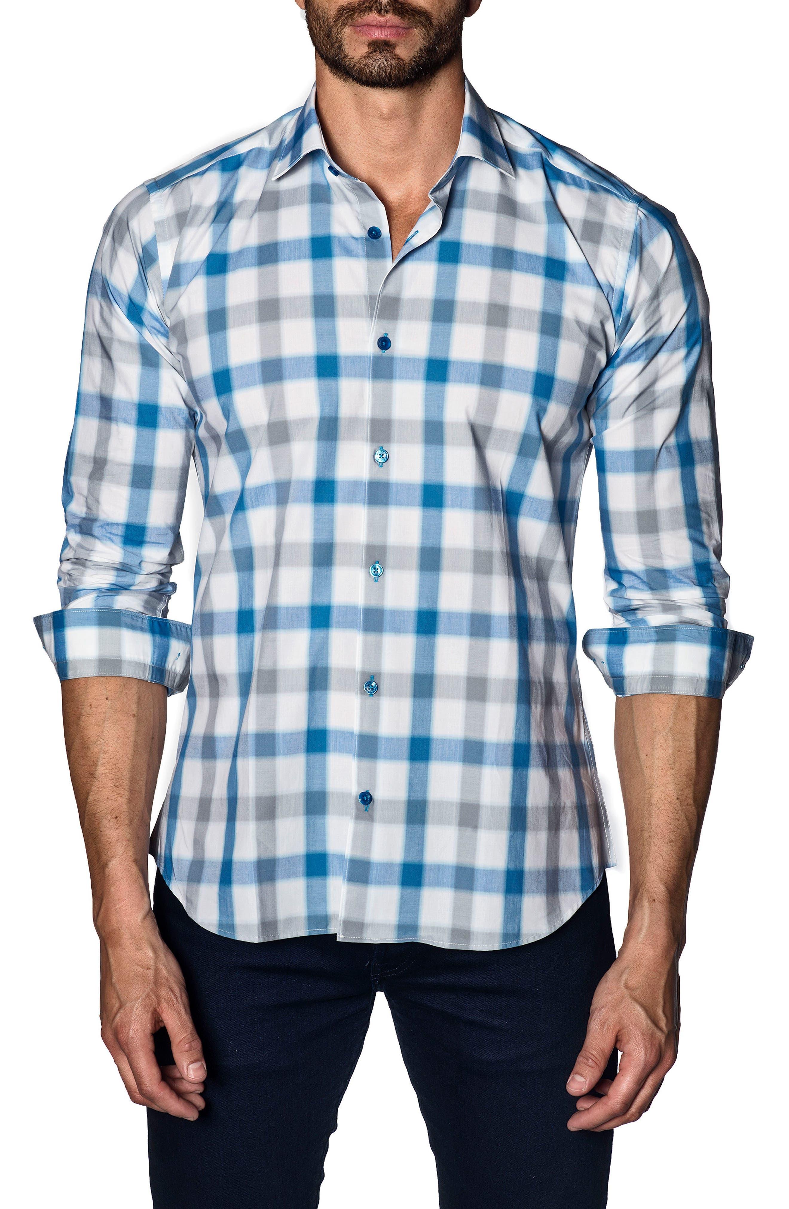 Trim Fit Sport Shirt,                             Main thumbnail 1, color,                             White Blue Check
