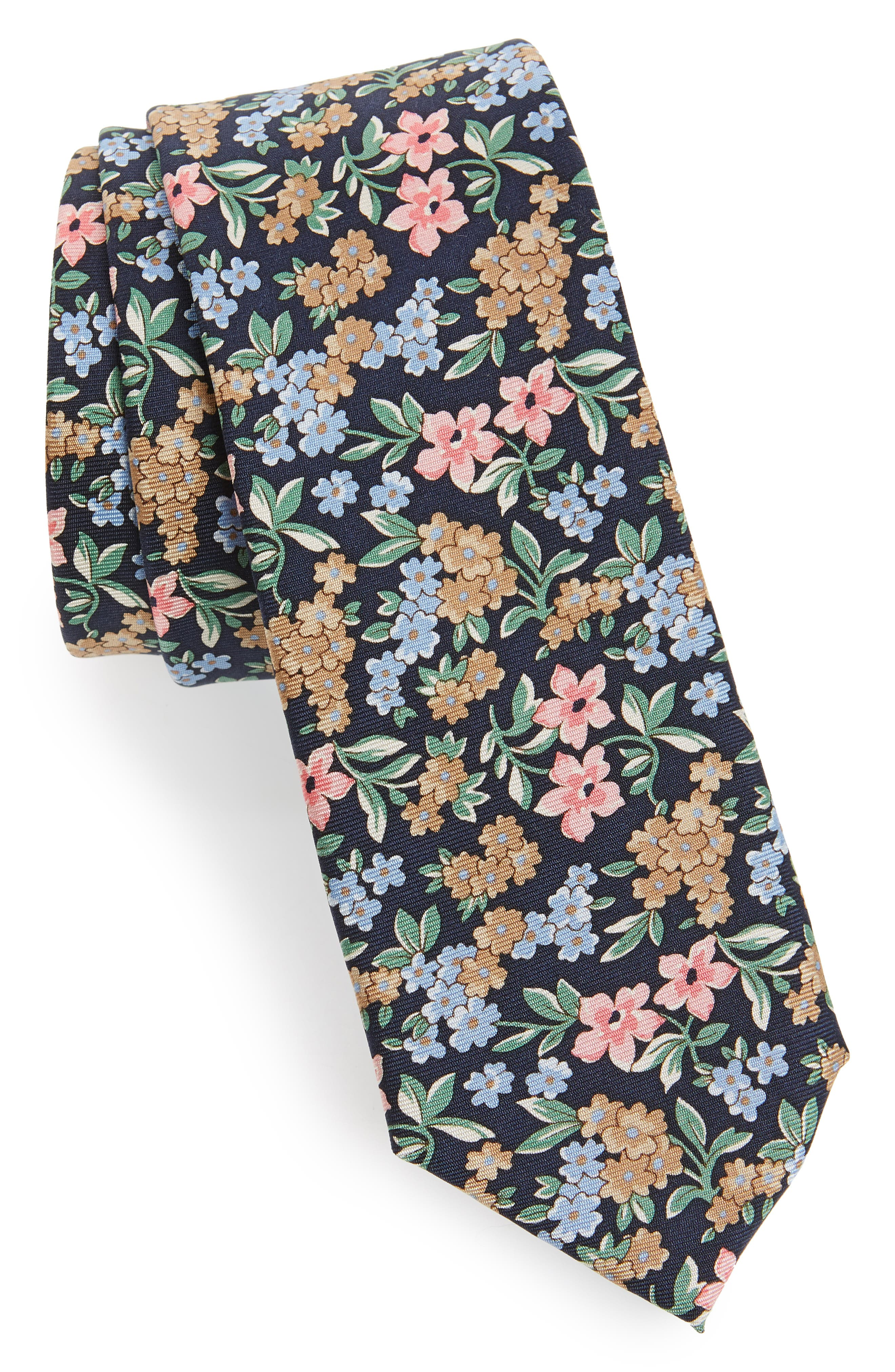 Cassidy Floral Silk Skinny Tie,                             Main thumbnail 1, color,                             Navy
