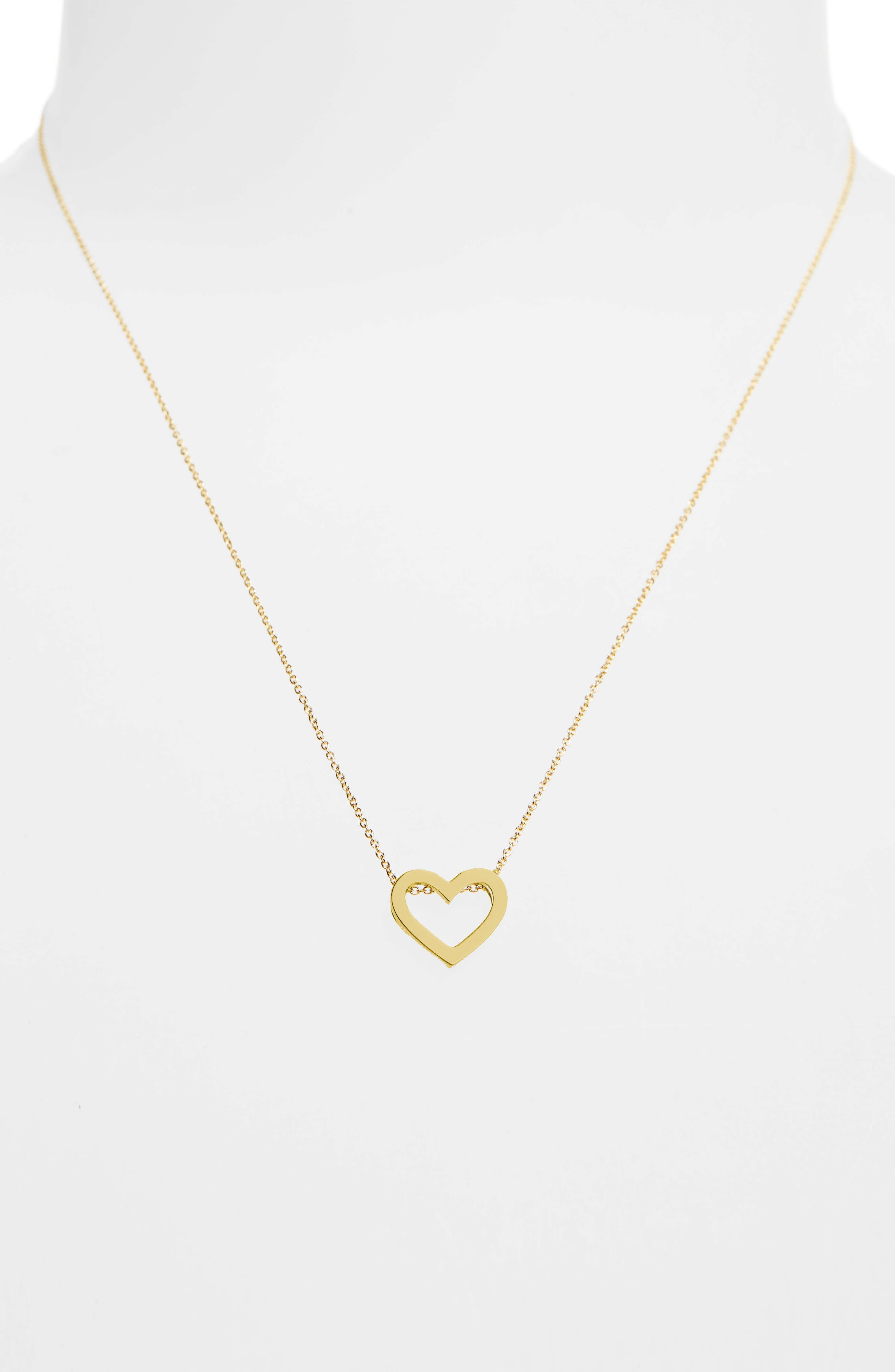 Gold Open Heart Necklace,                             Alternate thumbnail 2, color,                             Yellow Gold