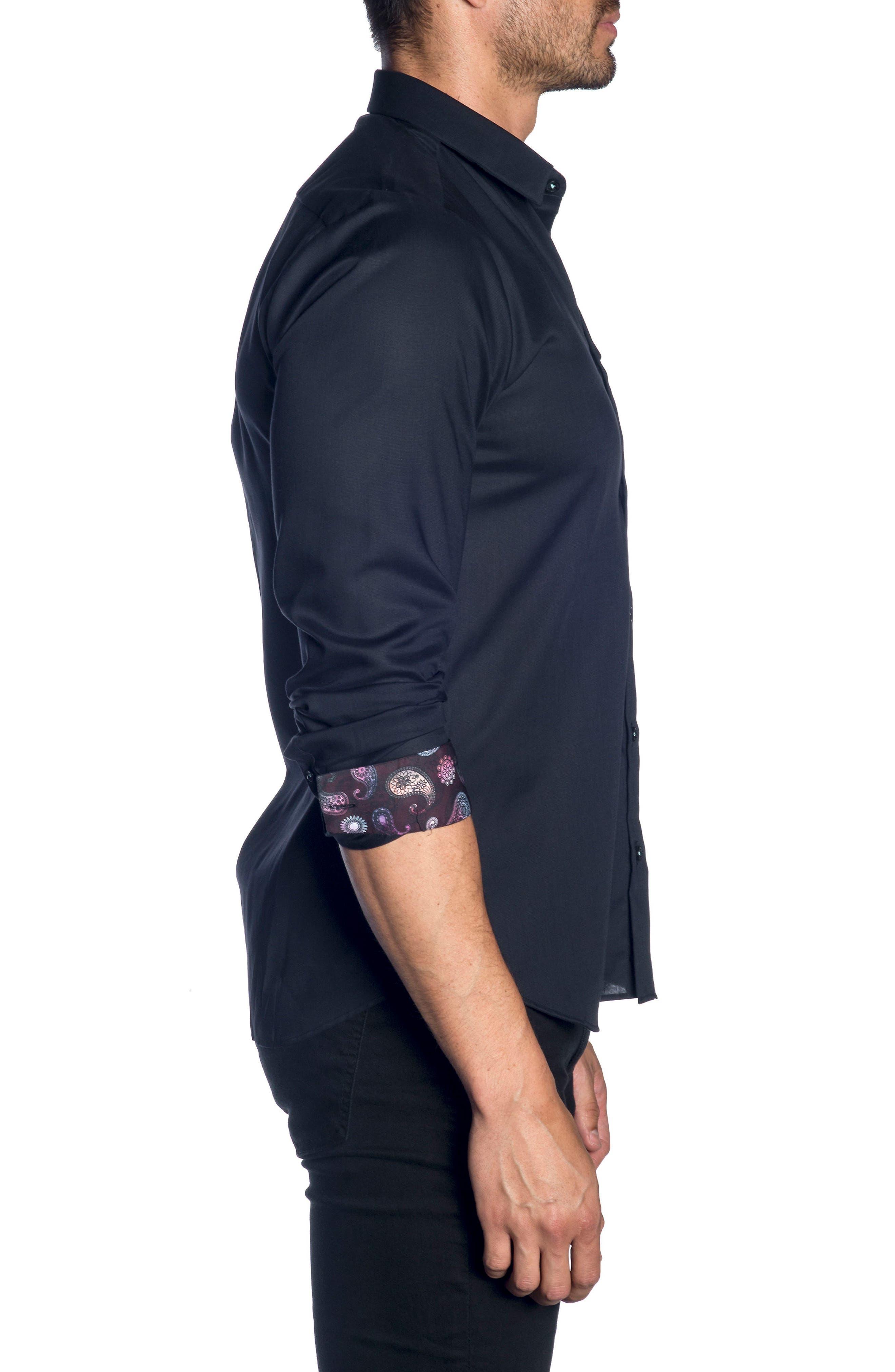 Trim Fit Sport Shirt,                             Alternate thumbnail 3, color,                             Black