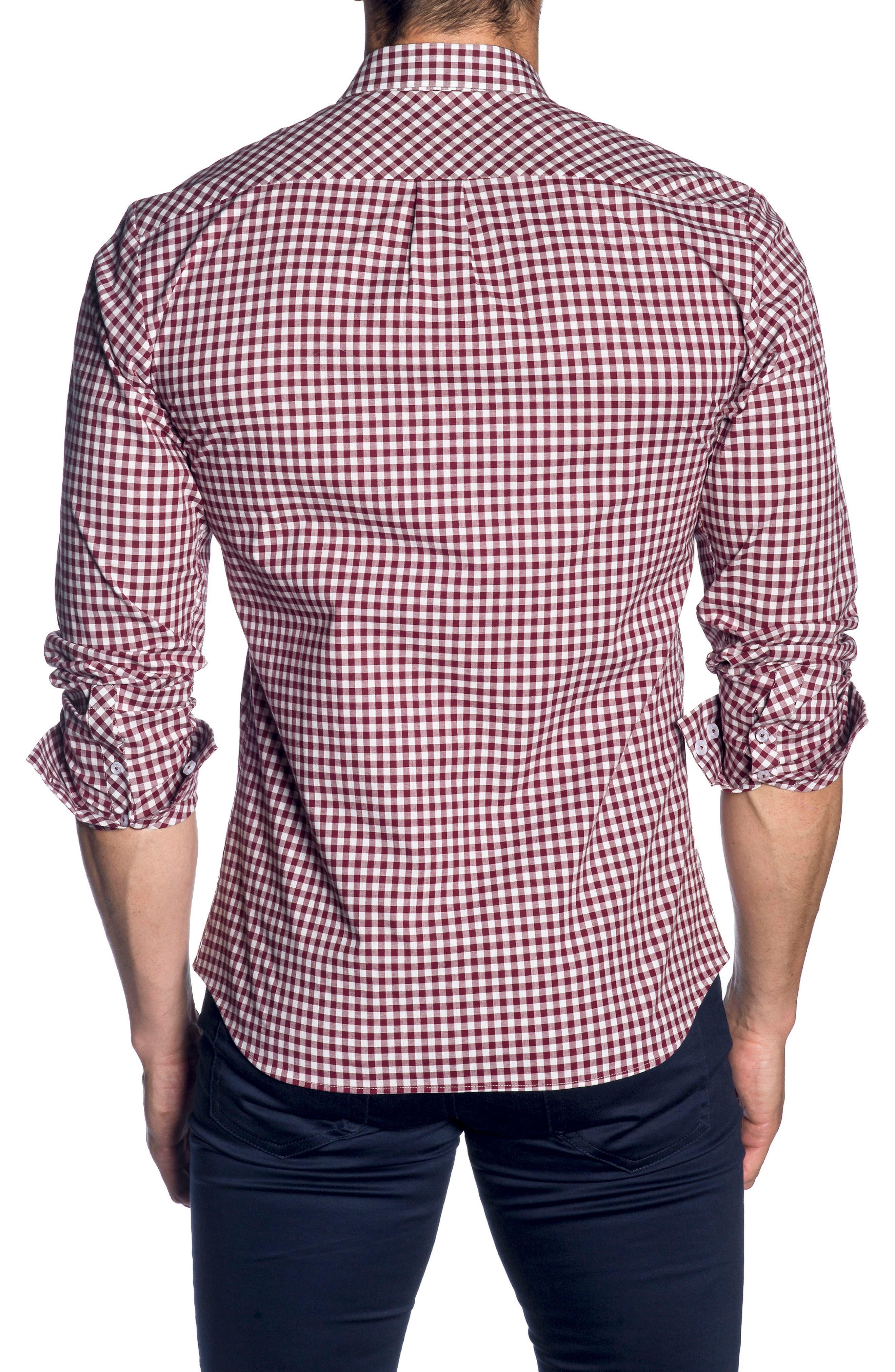 Trim Fit Sport Shirt,                             Alternate thumbnail 2, color,                             Heather Grey Bordeaux Check