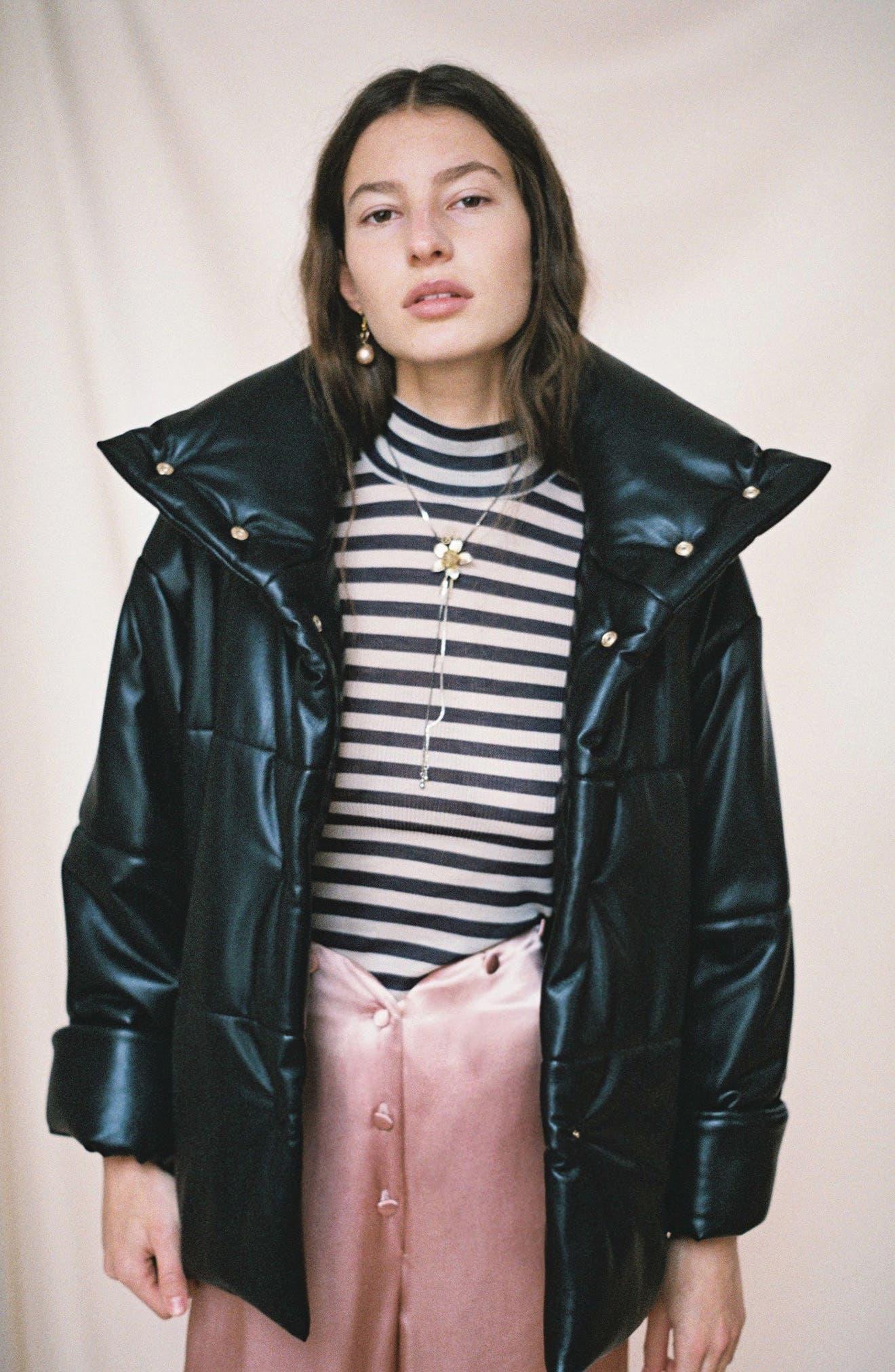 Hide Faux Leather Puffer Jacket,                             Alternate thumbnail 9, color,                             Black