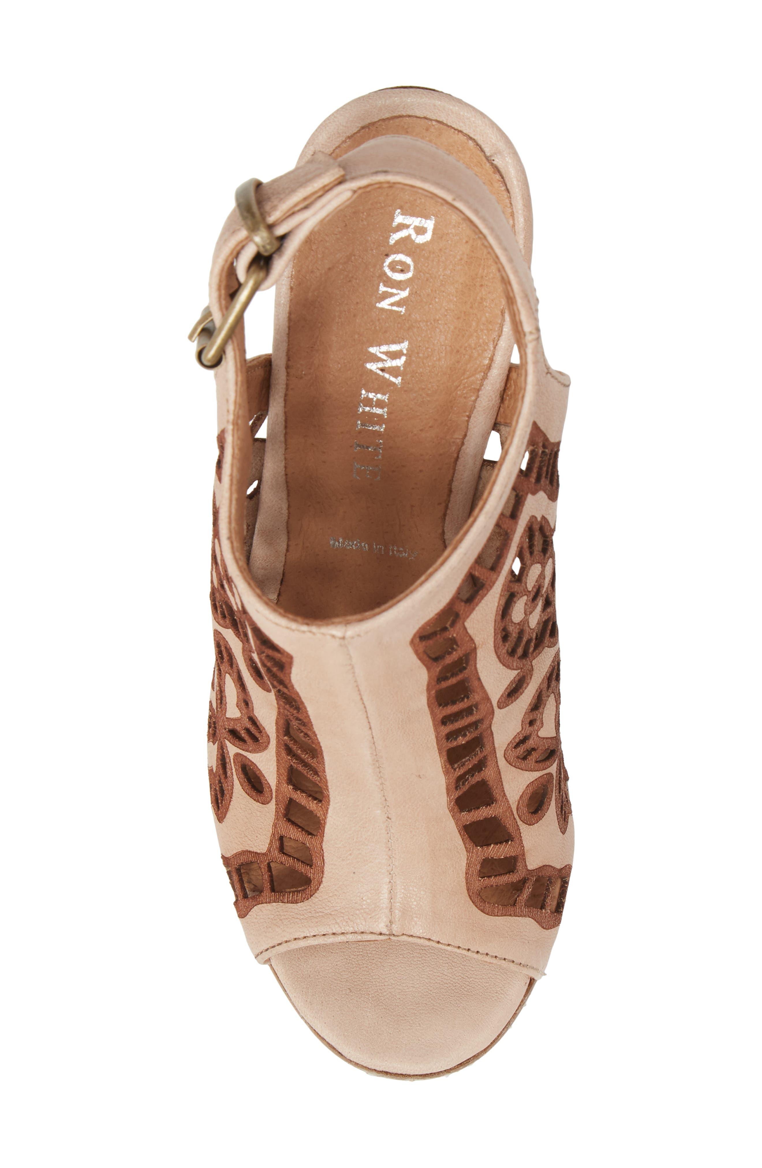 Sabrina Floral Cutout Shield Sandal,                             Alternate thumbnail 5, color,                             Blush Leather