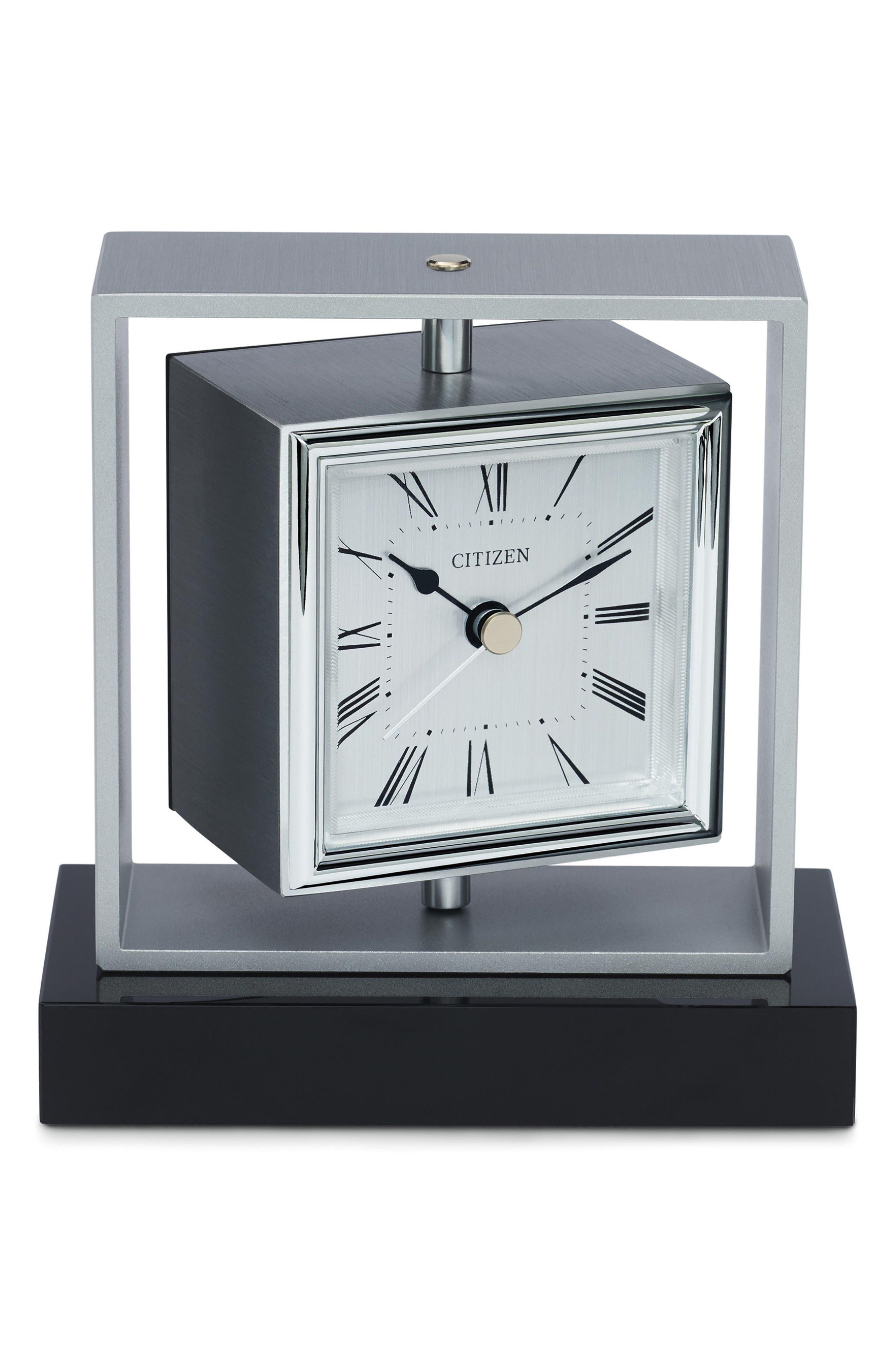 Square Spinning Clock,                             Main thumbnail 1, color,                             Silver