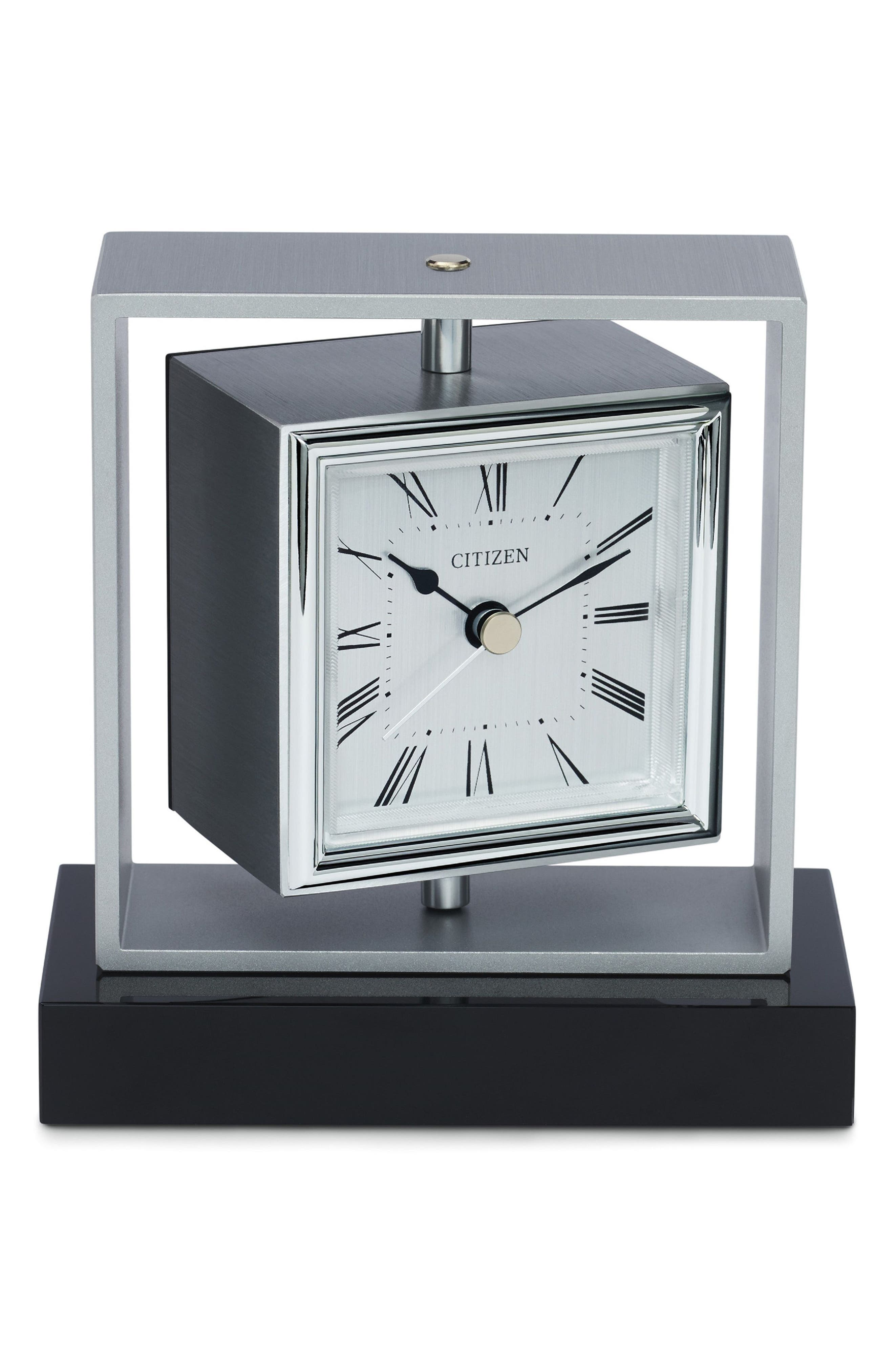Square Spinning Clock,                         Main,                         color, Silver