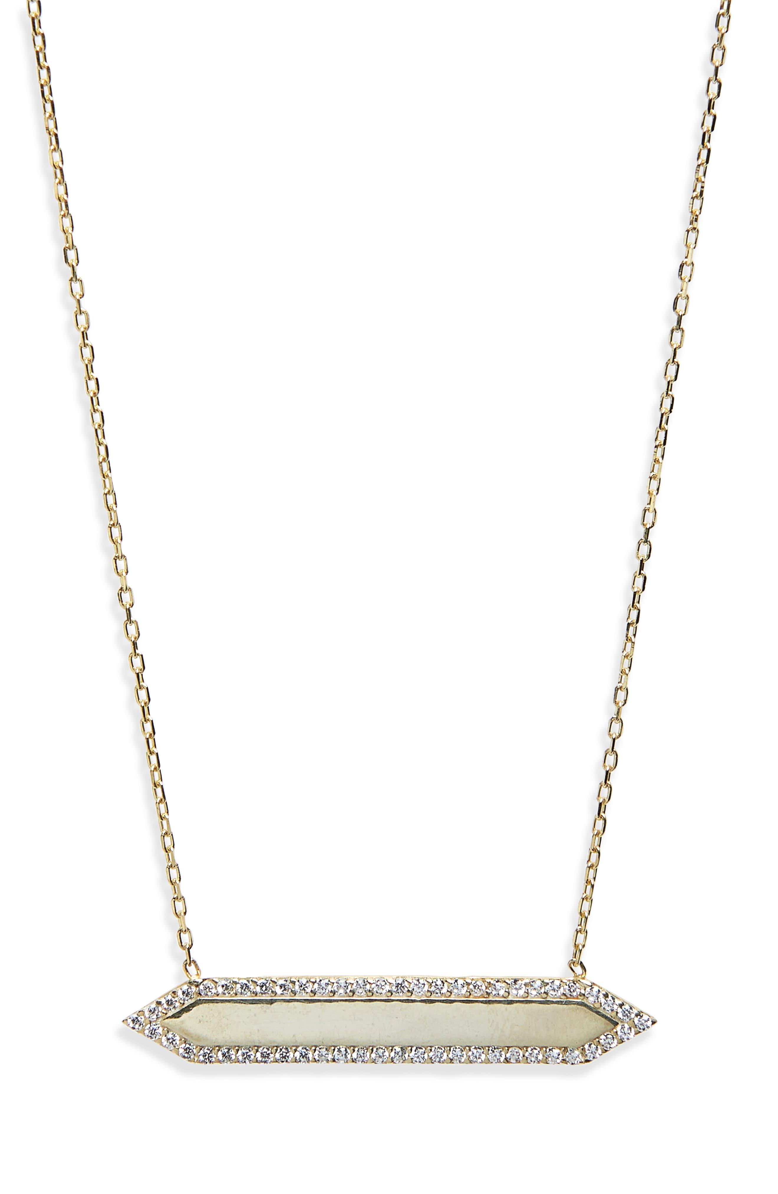 Mariah Pavé Crystal Bar Pendant Necklace,                             Main thumbnail 1, color,                             Yellow Gold