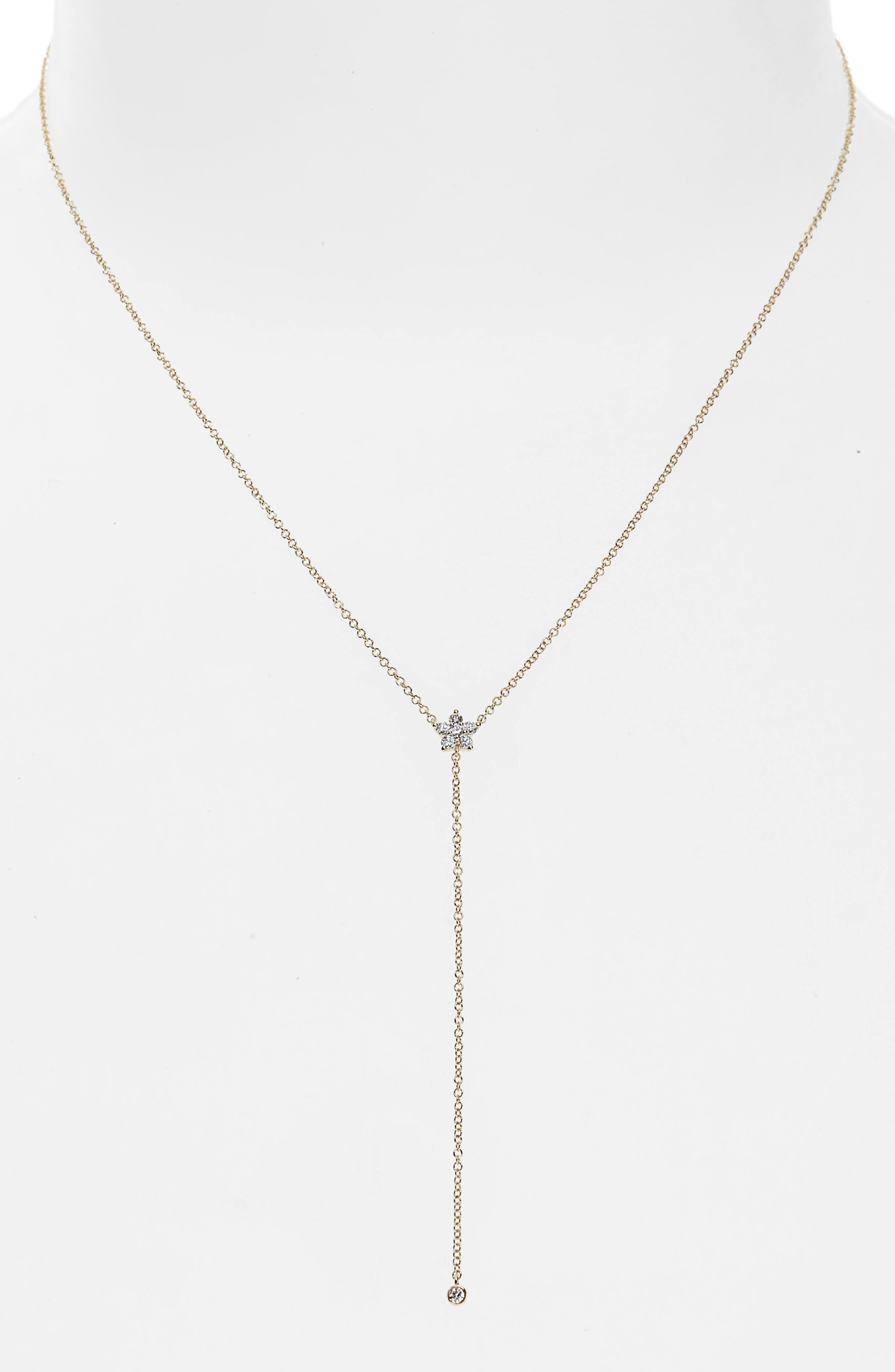 Diamond Flower Lariat Necklace,                             Main thumbnail 1, color,                             Yellow Gold