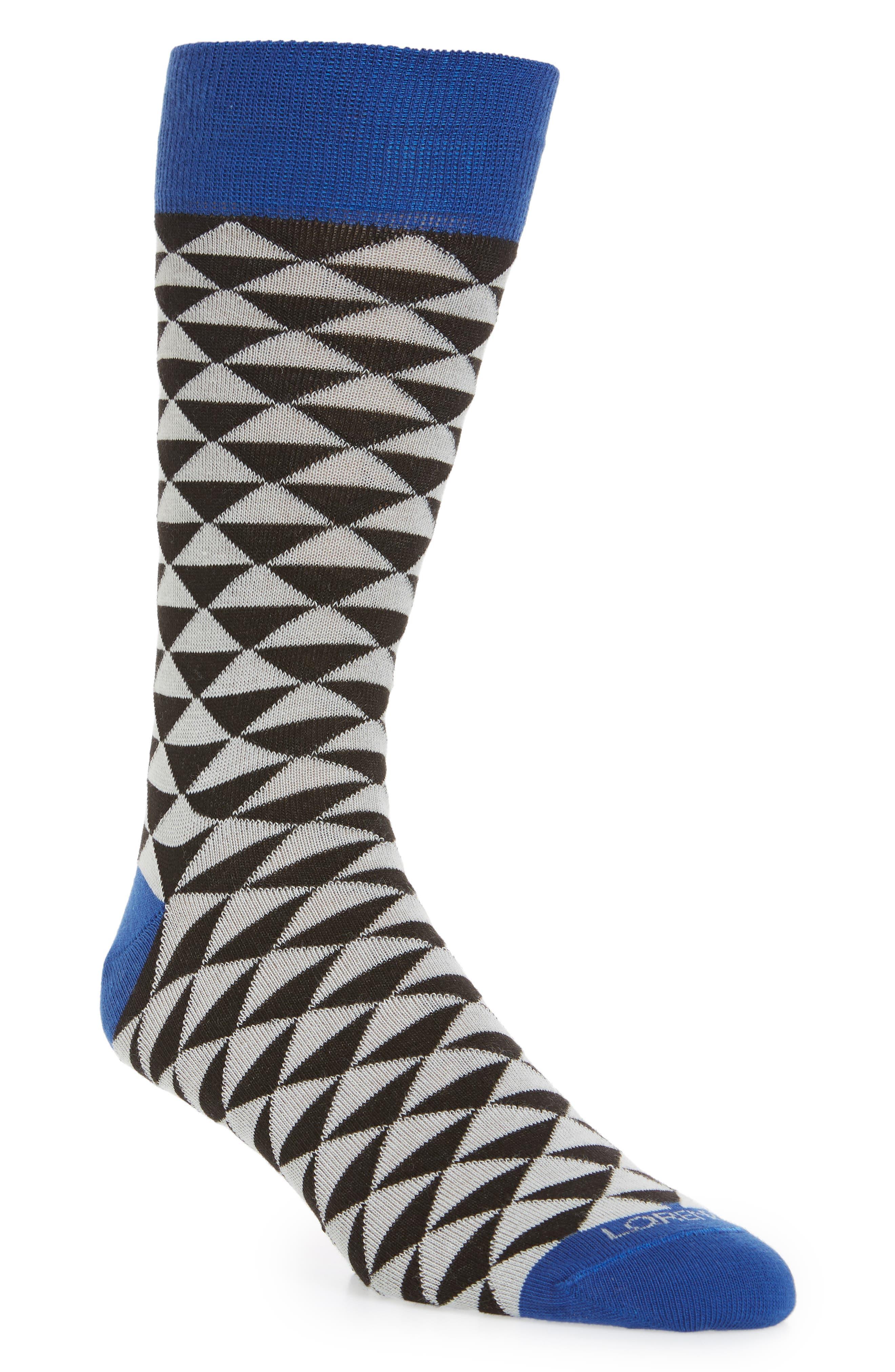 Triangles Socks,                             Main thumbnail 1, color,                             Black