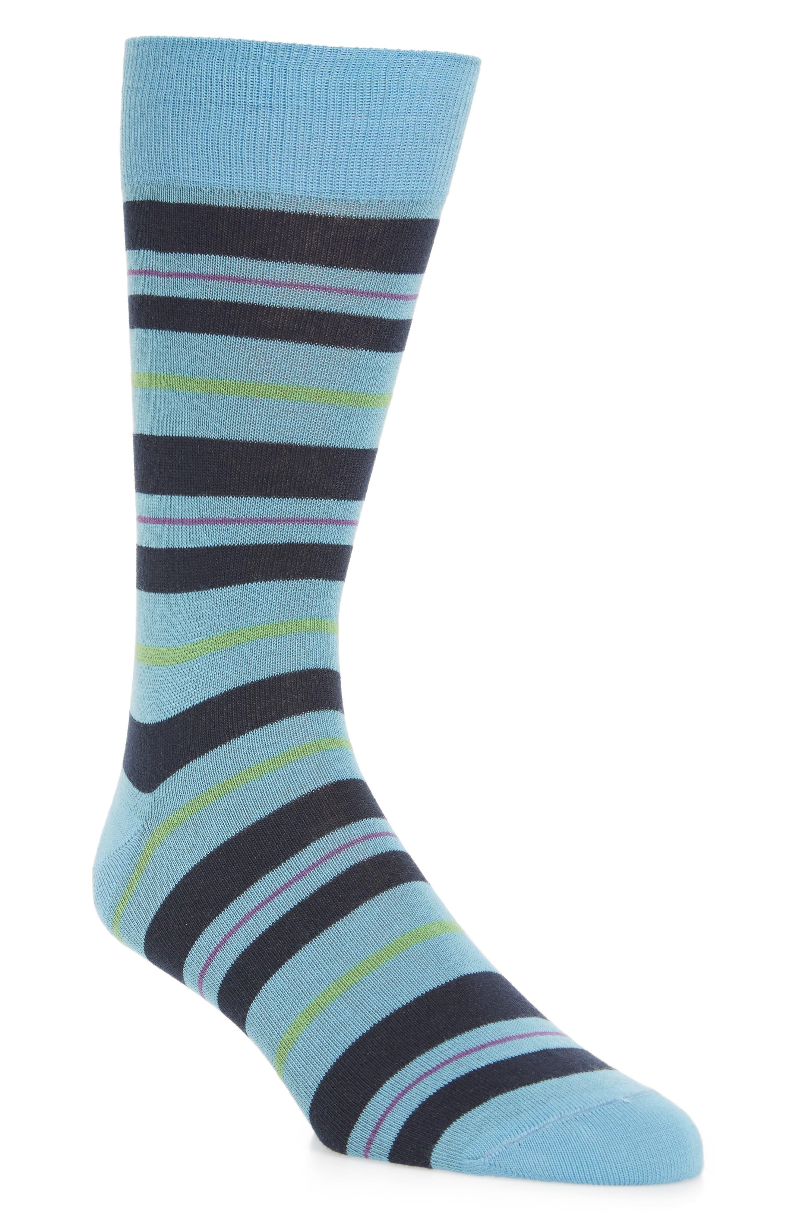 Mixed Stripe Socks,                             Main thumbnail 1, color,                             Light Blue