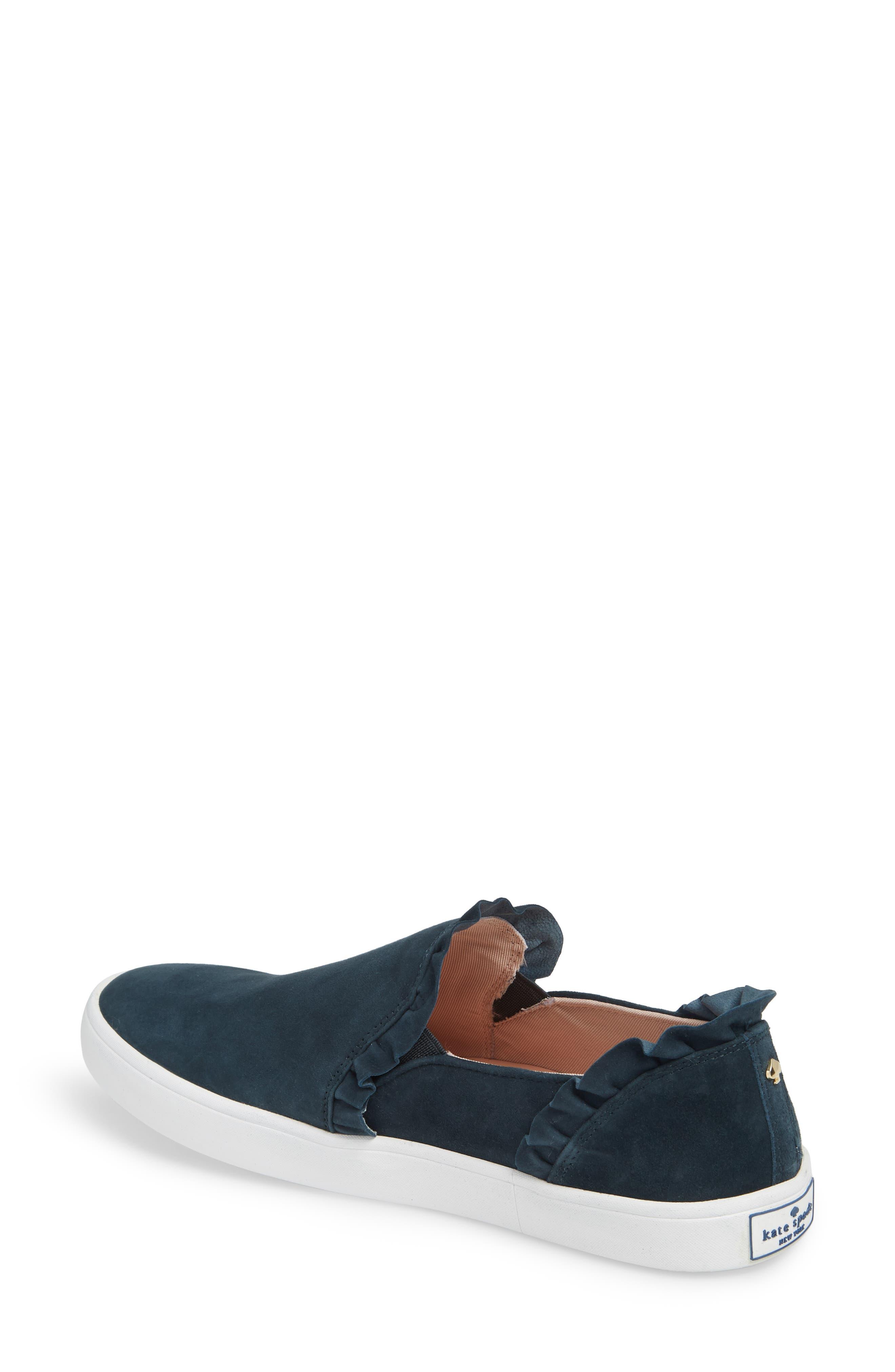 lilly ruffle slip-on sneaker,                             Alternate thumbnail 2, color,                             Navy