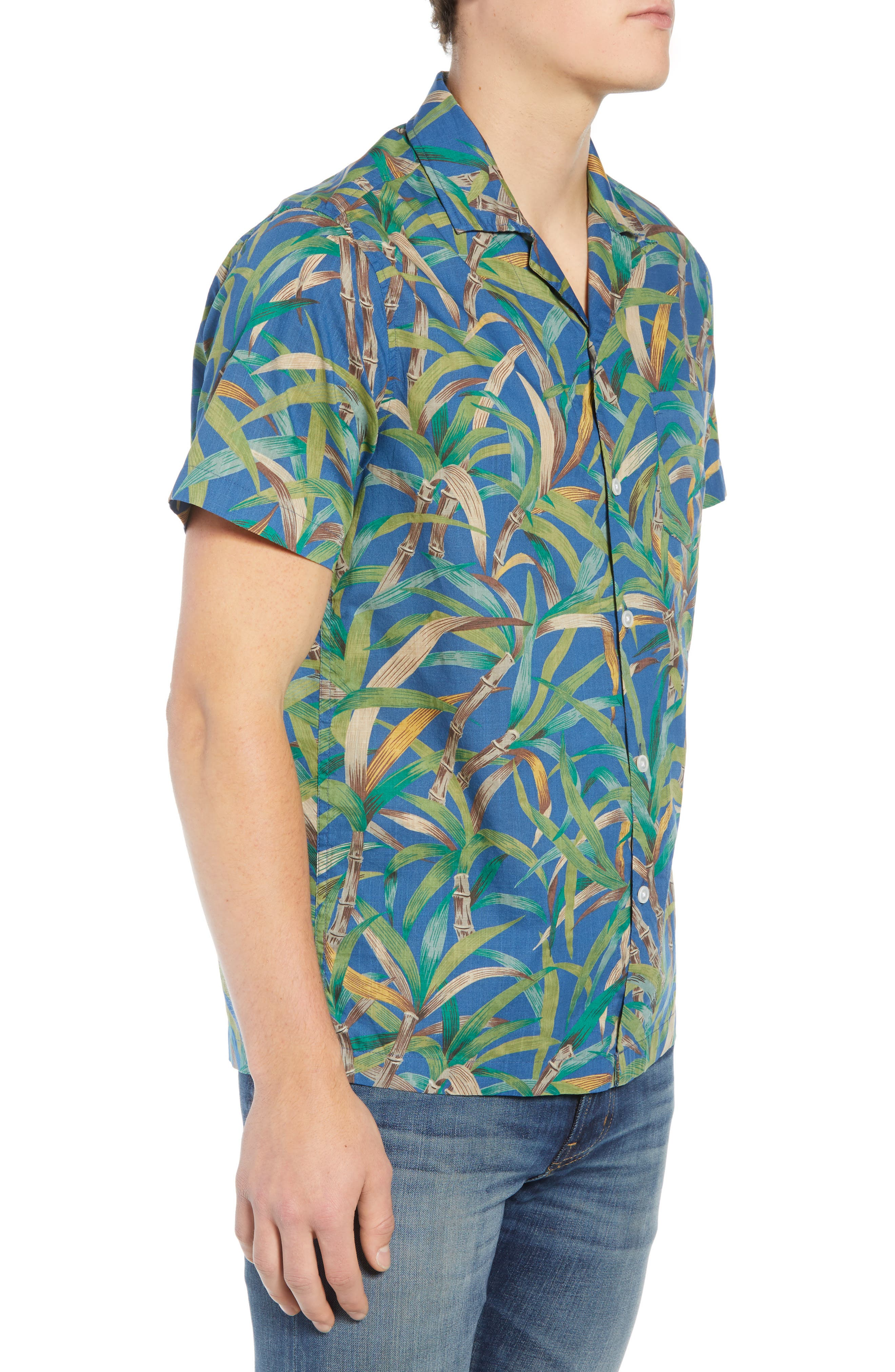 Regular Fit Leaf Print Slub Cotton Sport Shirt,                             Alternate thumbnail 5, color,                             Vivid Fig
