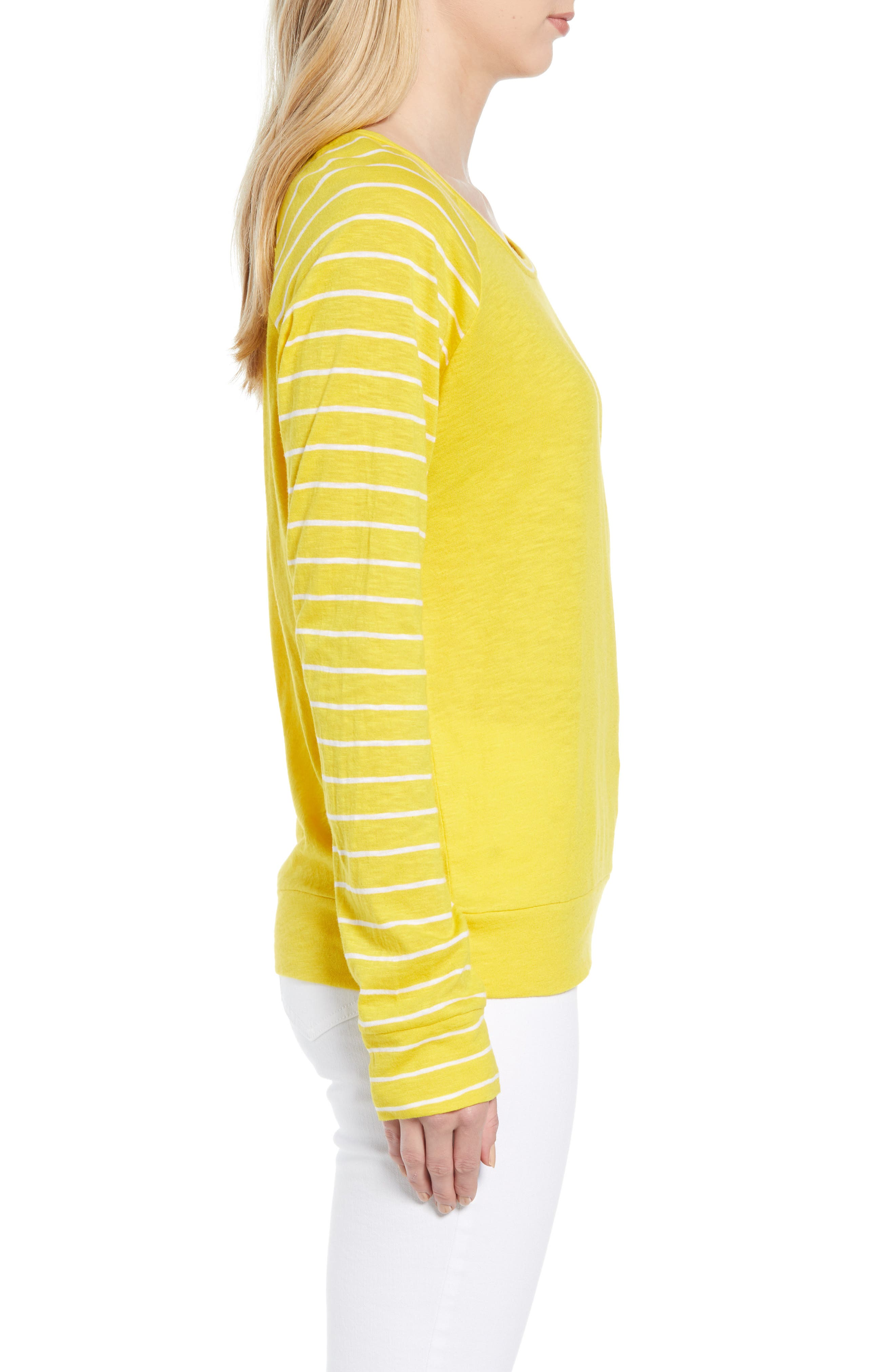 Lightweight Colorblock Cotton Tee,                             Alternate thumbnail 26, color,                             Yellow- White Lukah Combo