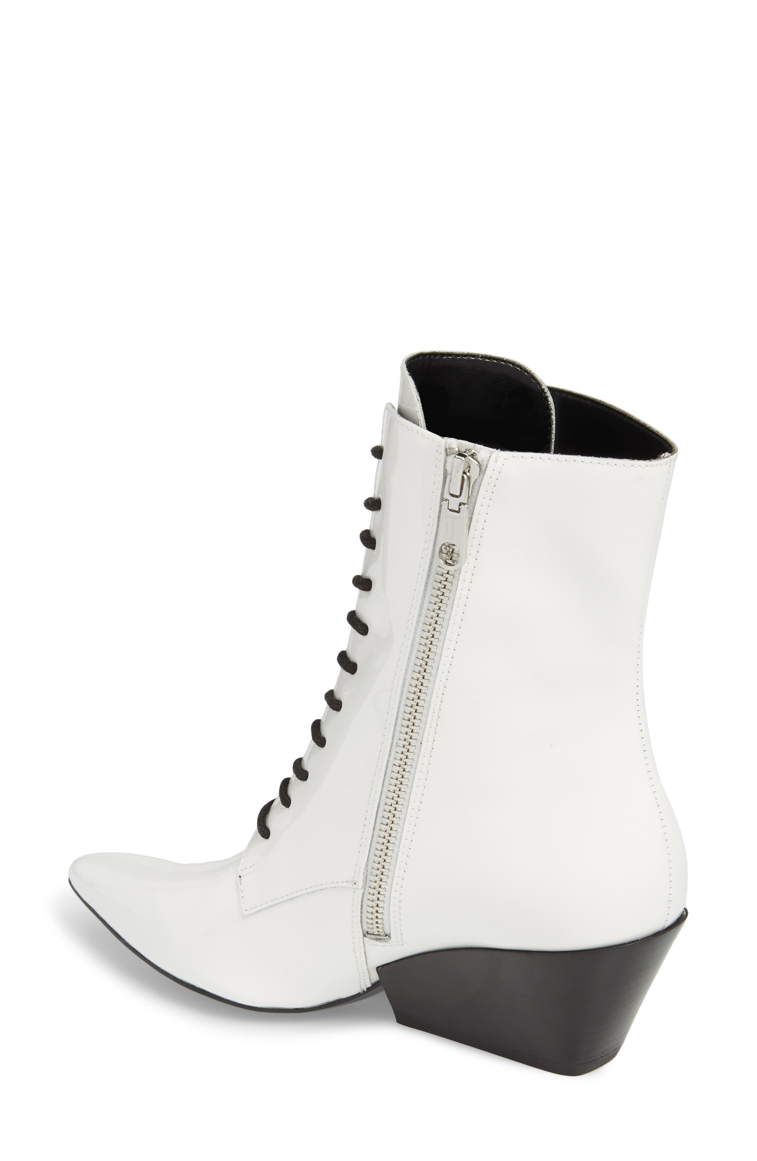 Faith Pointy Toe Laced Bootie,                             Alternate thumbnail 2, color,                             White Patent